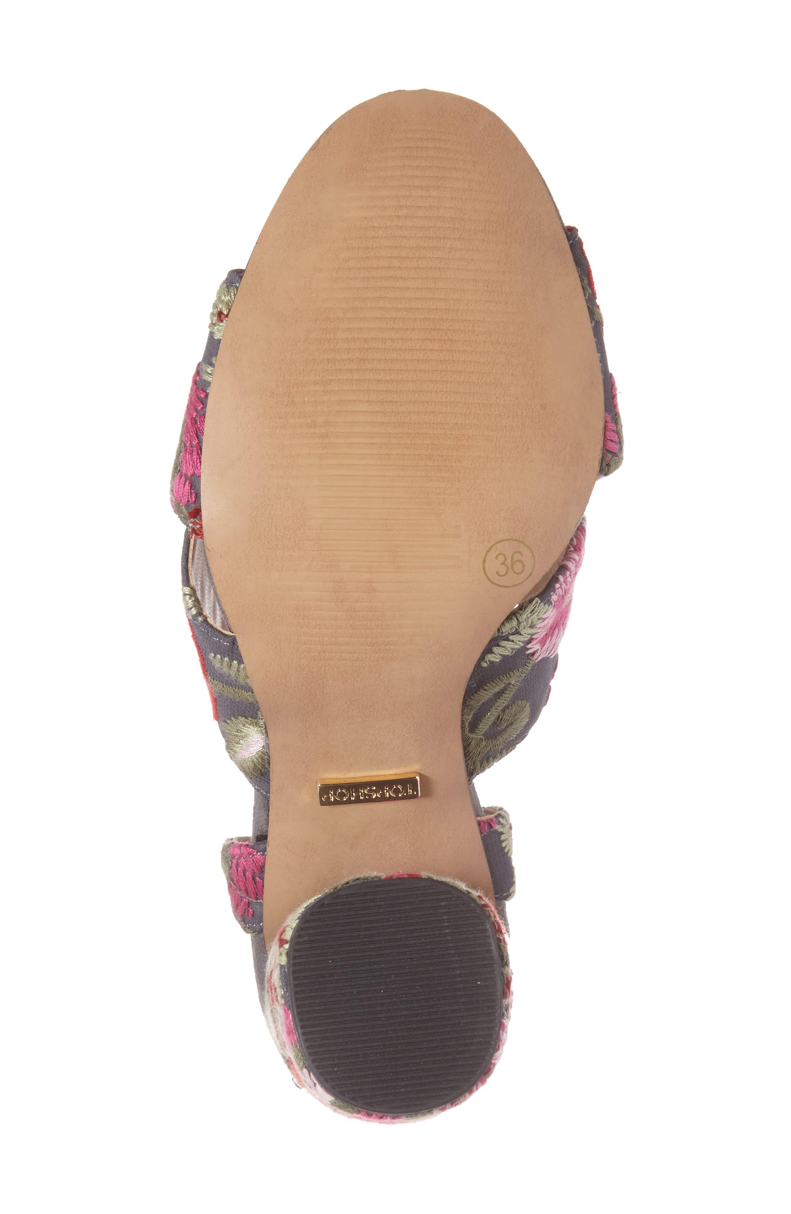 Reena Embroidered Sandal,                             Alternate thumbnail 4, color,                             Pink Multi