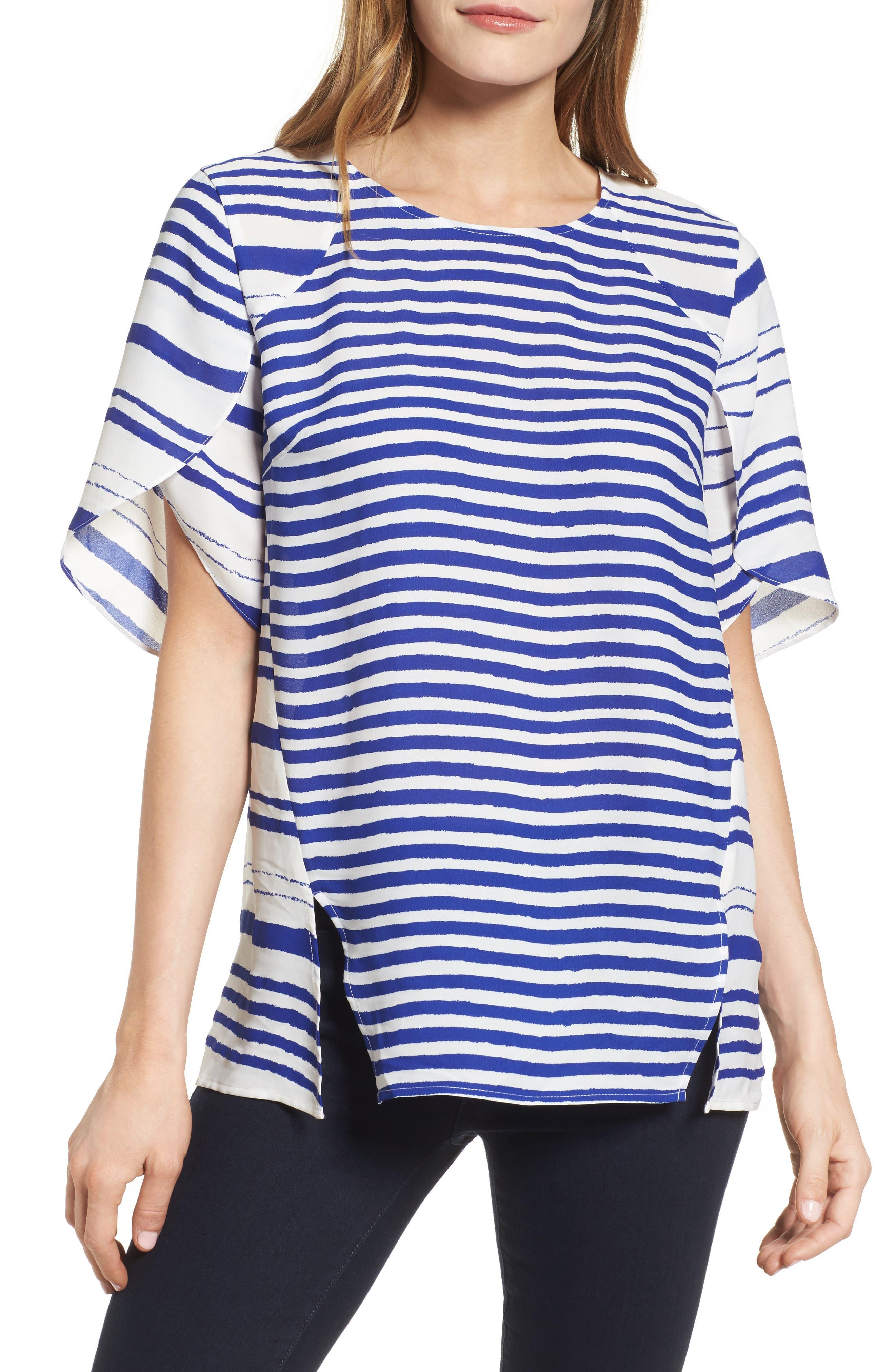 Tulip Sleeve Stripe Blouse,                         Main,                         color, Regatta Blue