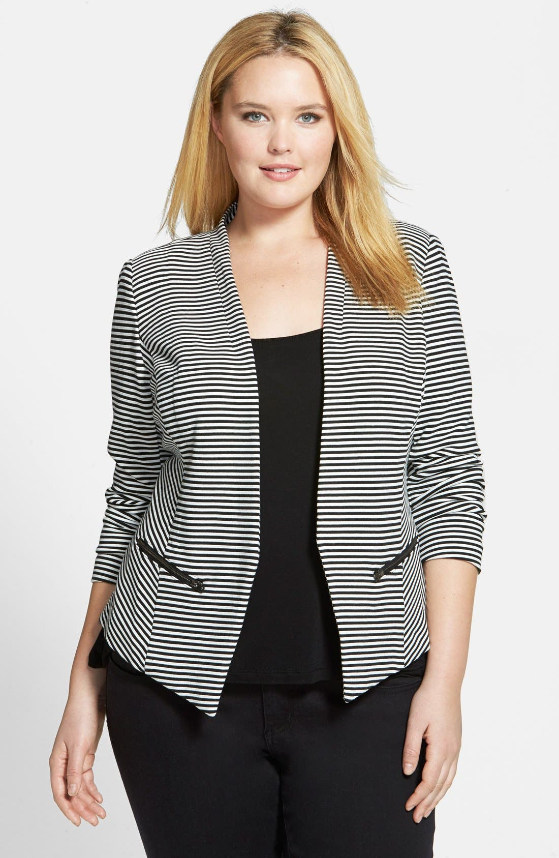 Plus size black knit jacket