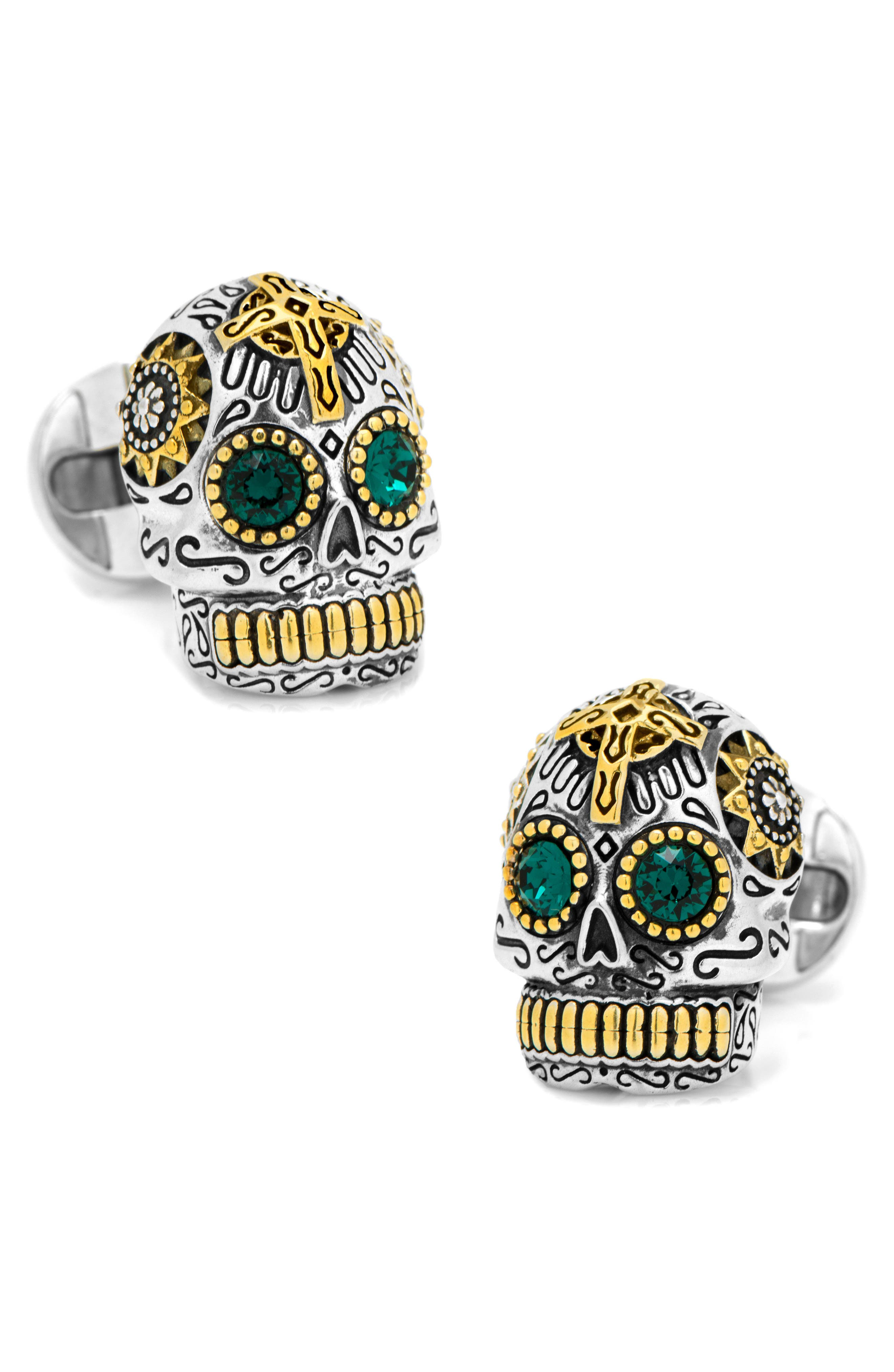 Skull Cuff Links,                             Main thumbnail 1, color,                             Silver