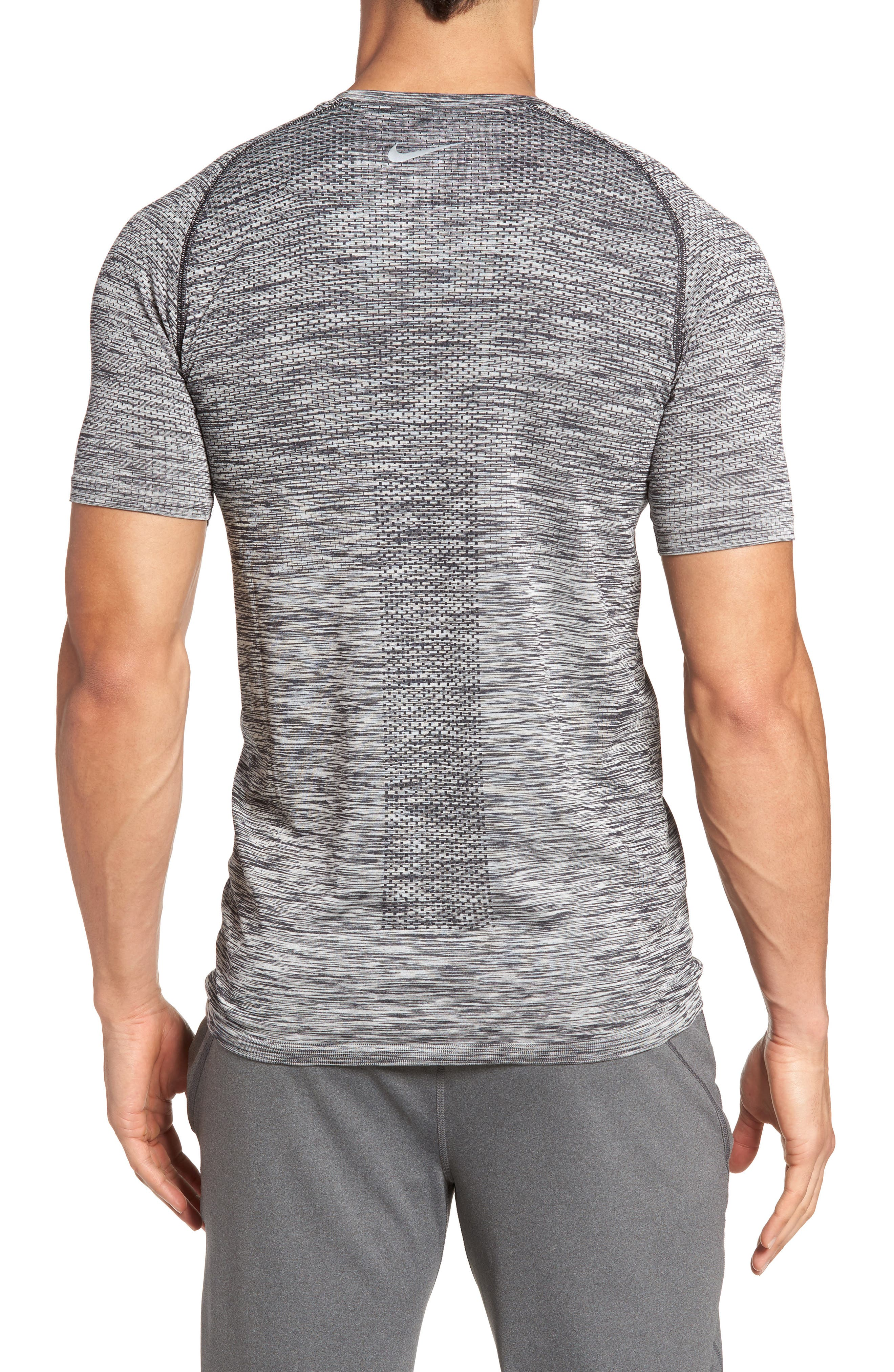 Men Dry Knit Running T-Shirt,                             Alternate thumbnail 2, color,                             Black/ Heather