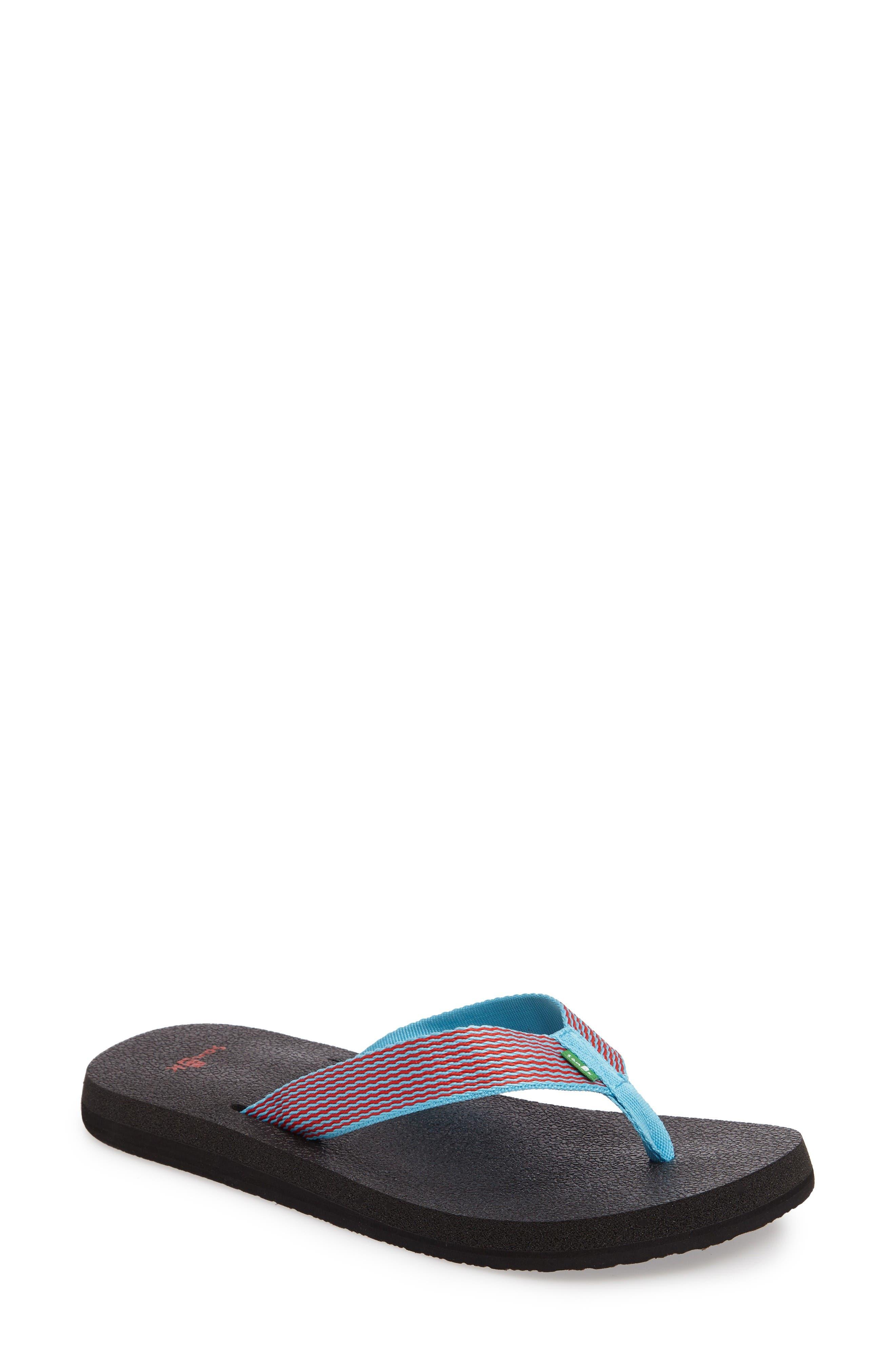 'Yoga Mat' Flip Flop,                             Main thumbnail 1, color,                             Aqua/ Bright Red