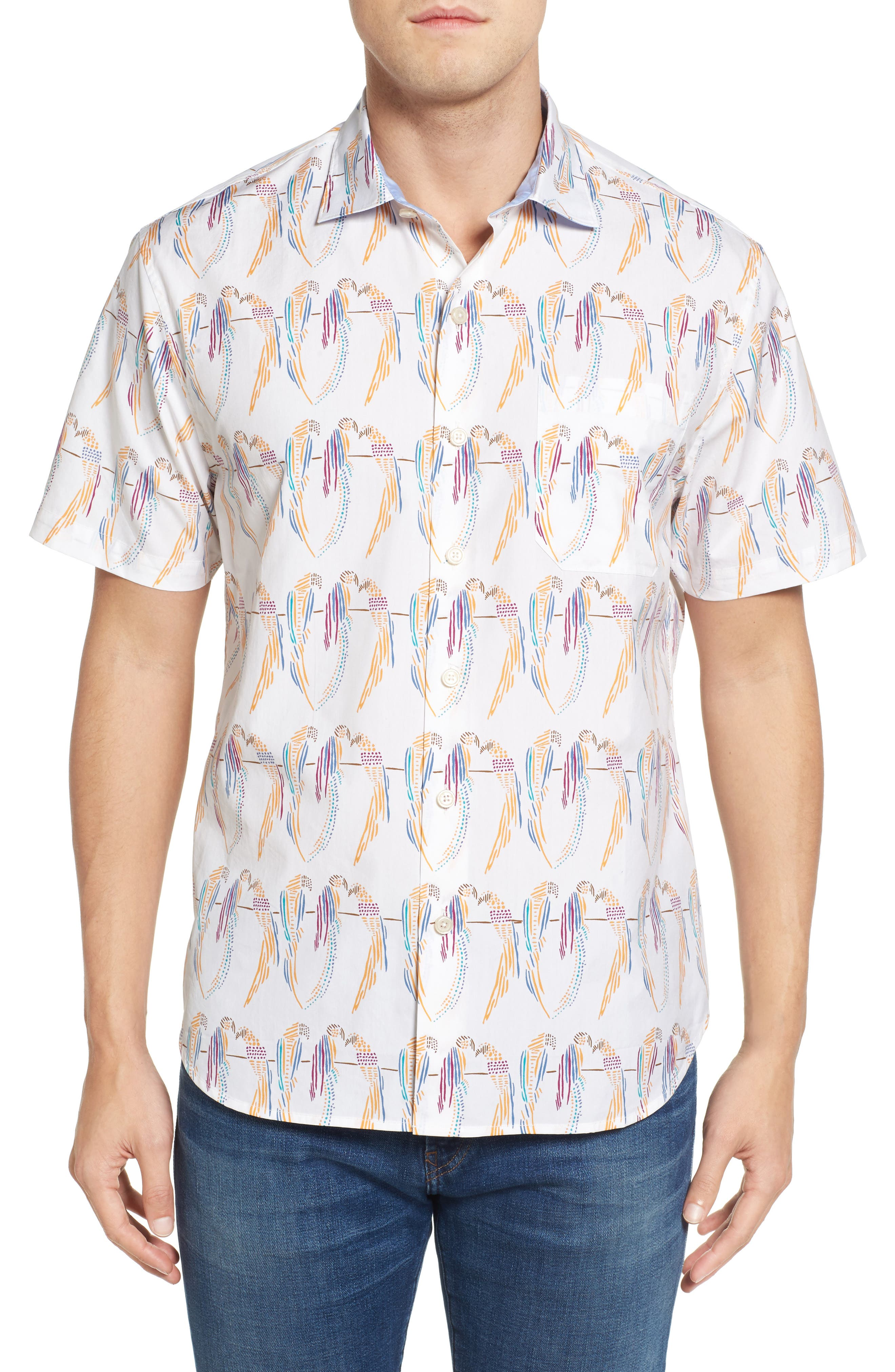 Meet the Parrots Standard Fit Sport Shirt,                         Main,                         color, California Poppy