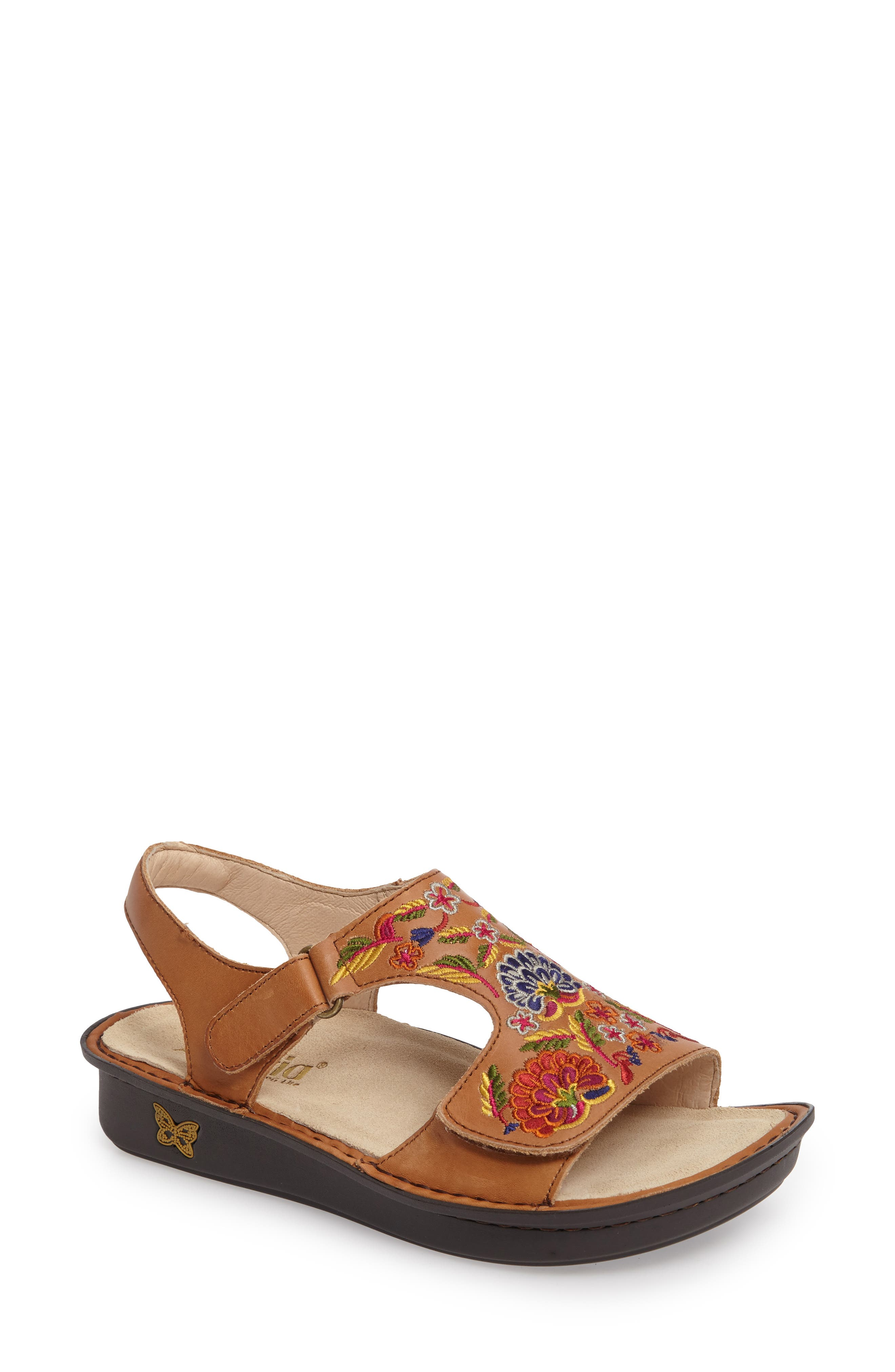 Viki Embroidered Sandal,                         Main,                         color, Cognac Pins/ Needles Leather