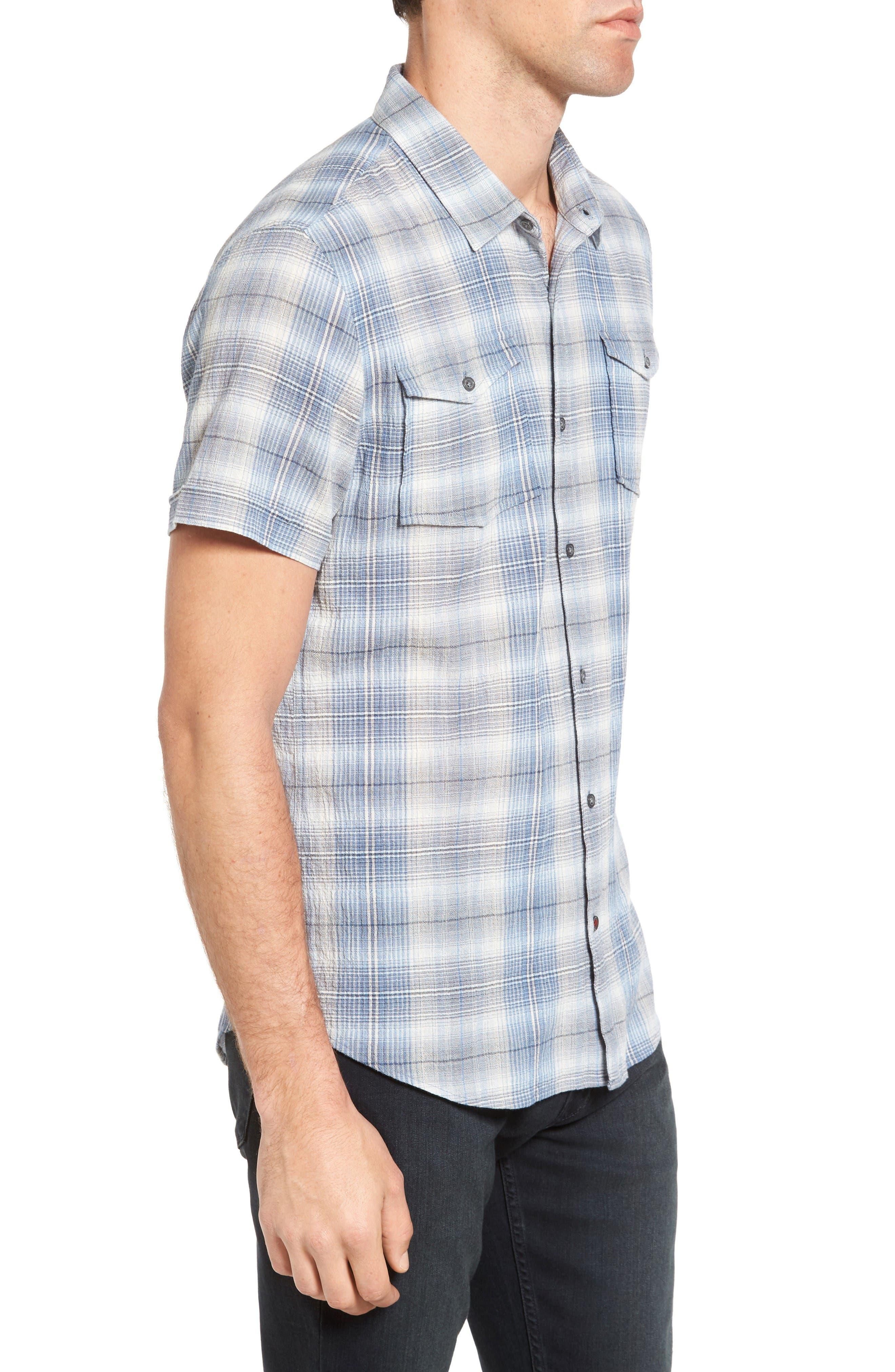 Trim Fit Plaid Sport Shirt,                             Alternate thumbnail 3, color,                             Water Blue