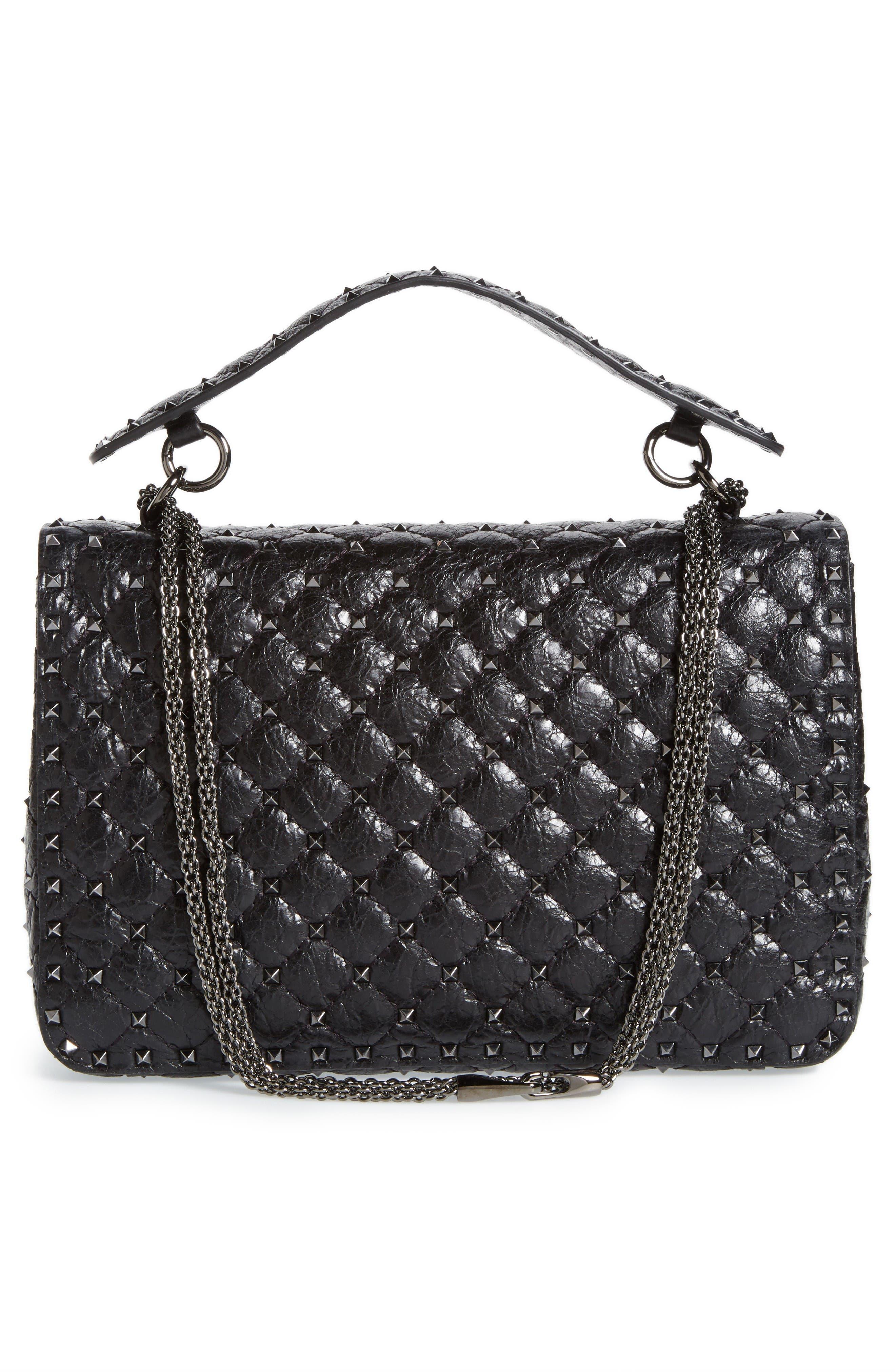 Rockstud Spike Large Shoulder Bag,                             Alternate thumbnail 3, color,                             Black