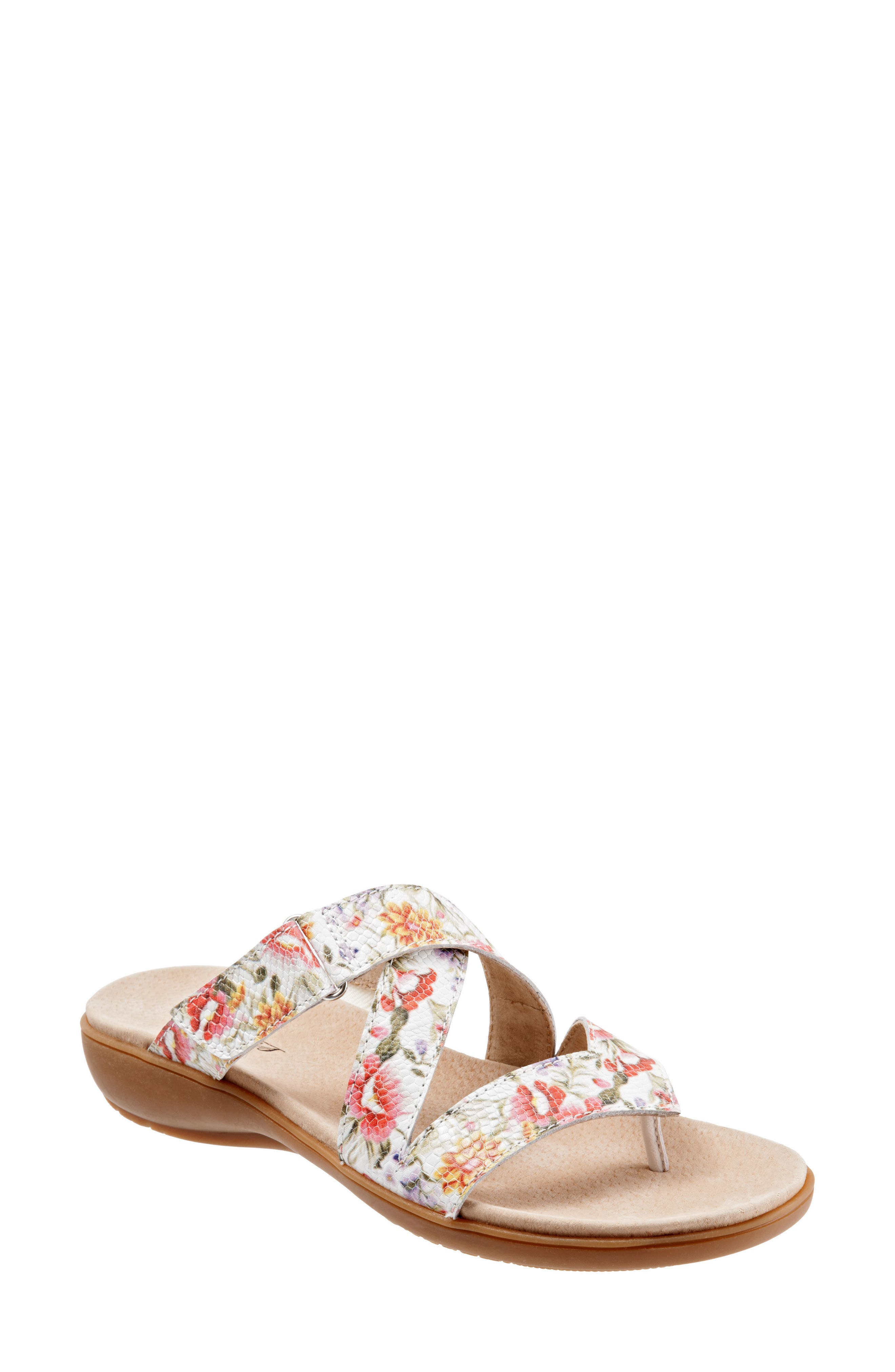 Komet Thong Sandal,                             Main thumbnail 1, color,                             Off White Floral Leather