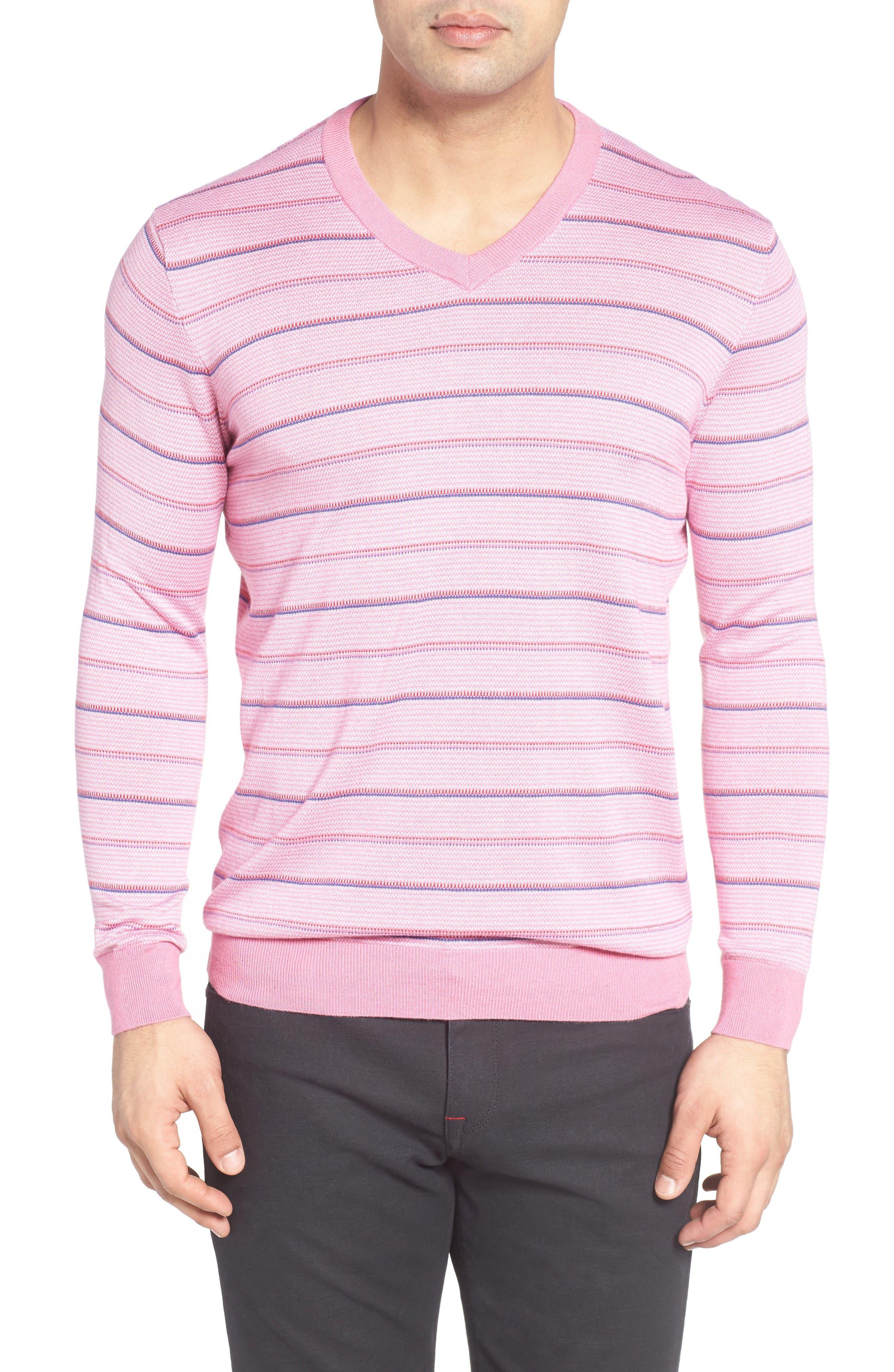 BUGATCHI Stripe Silk Blend Sweater