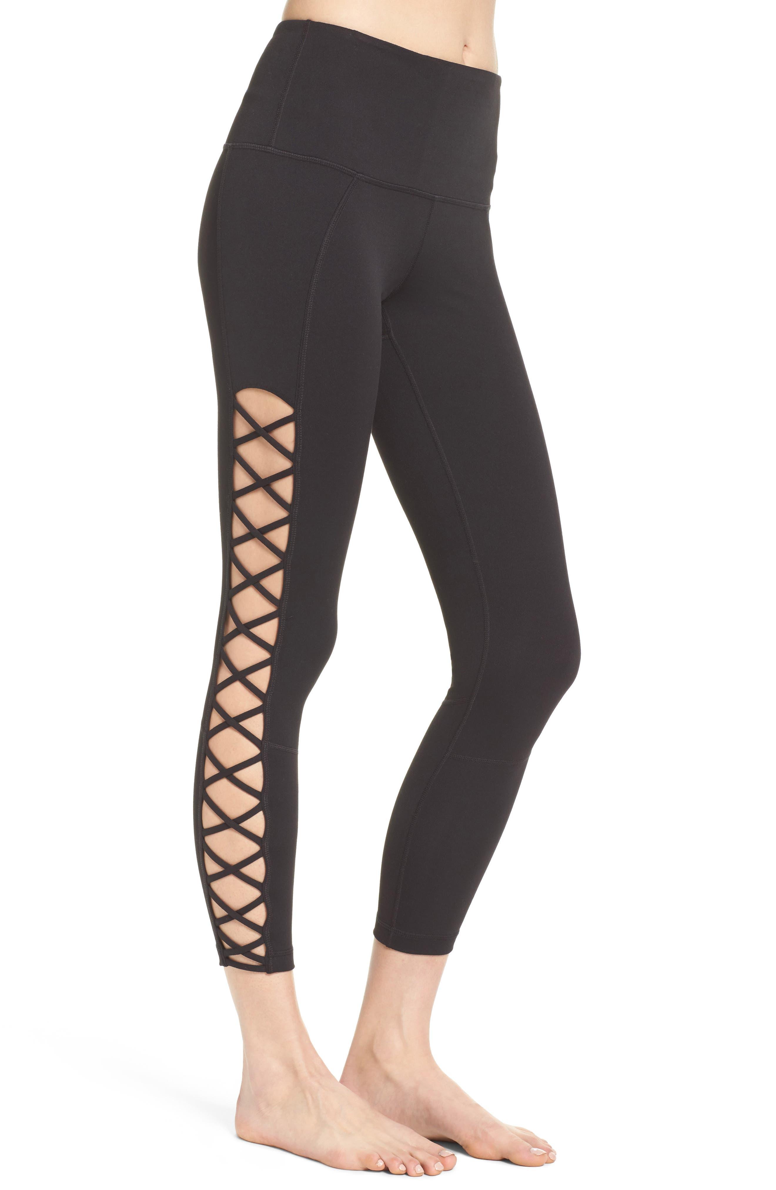 Alternate Image 3  - Zella Lace It Up High Waist Midi Leggings