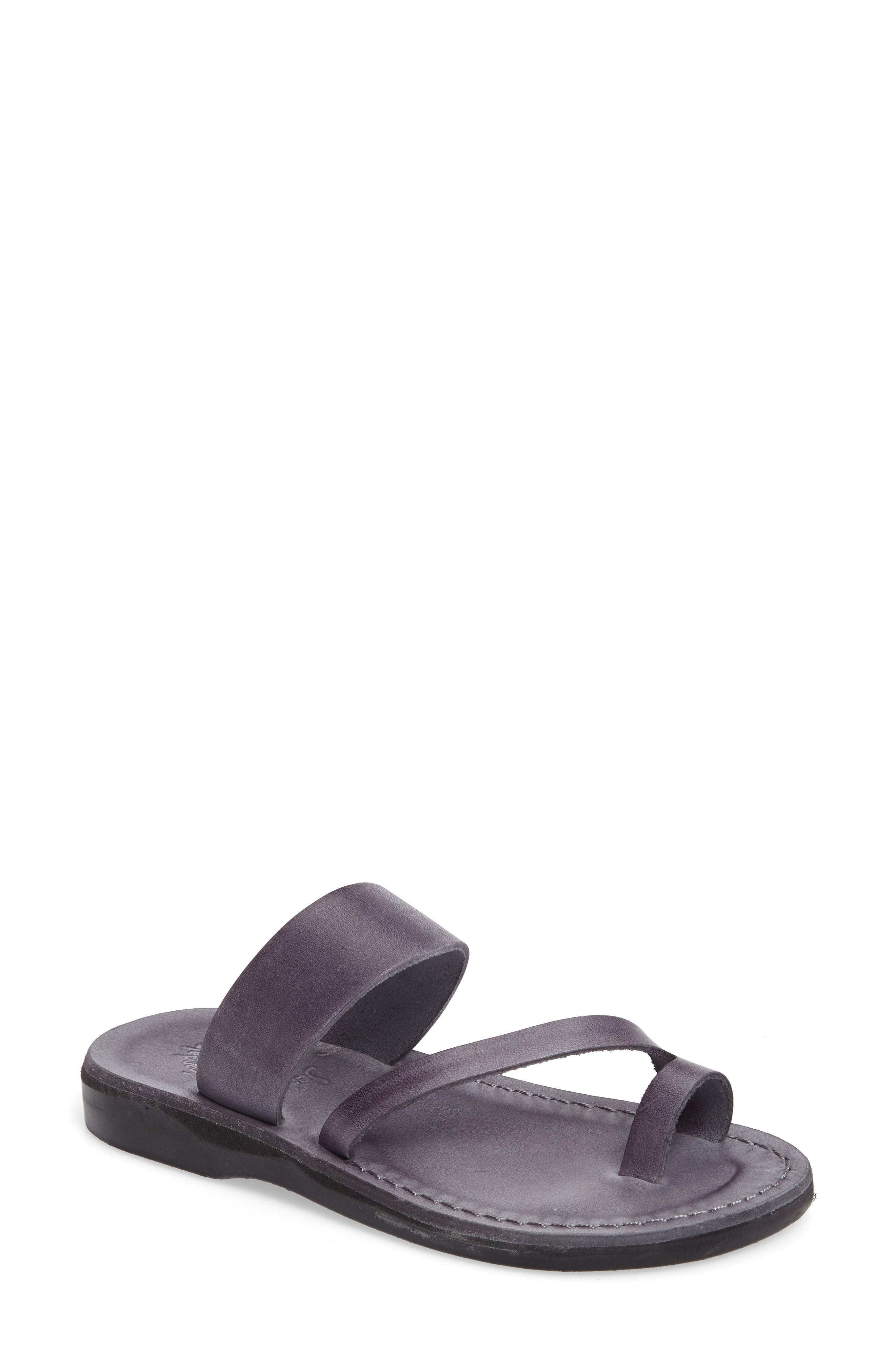 'Zohar' Leather Sandal,                             Main thumbnail 1, color,                             Grey Leather