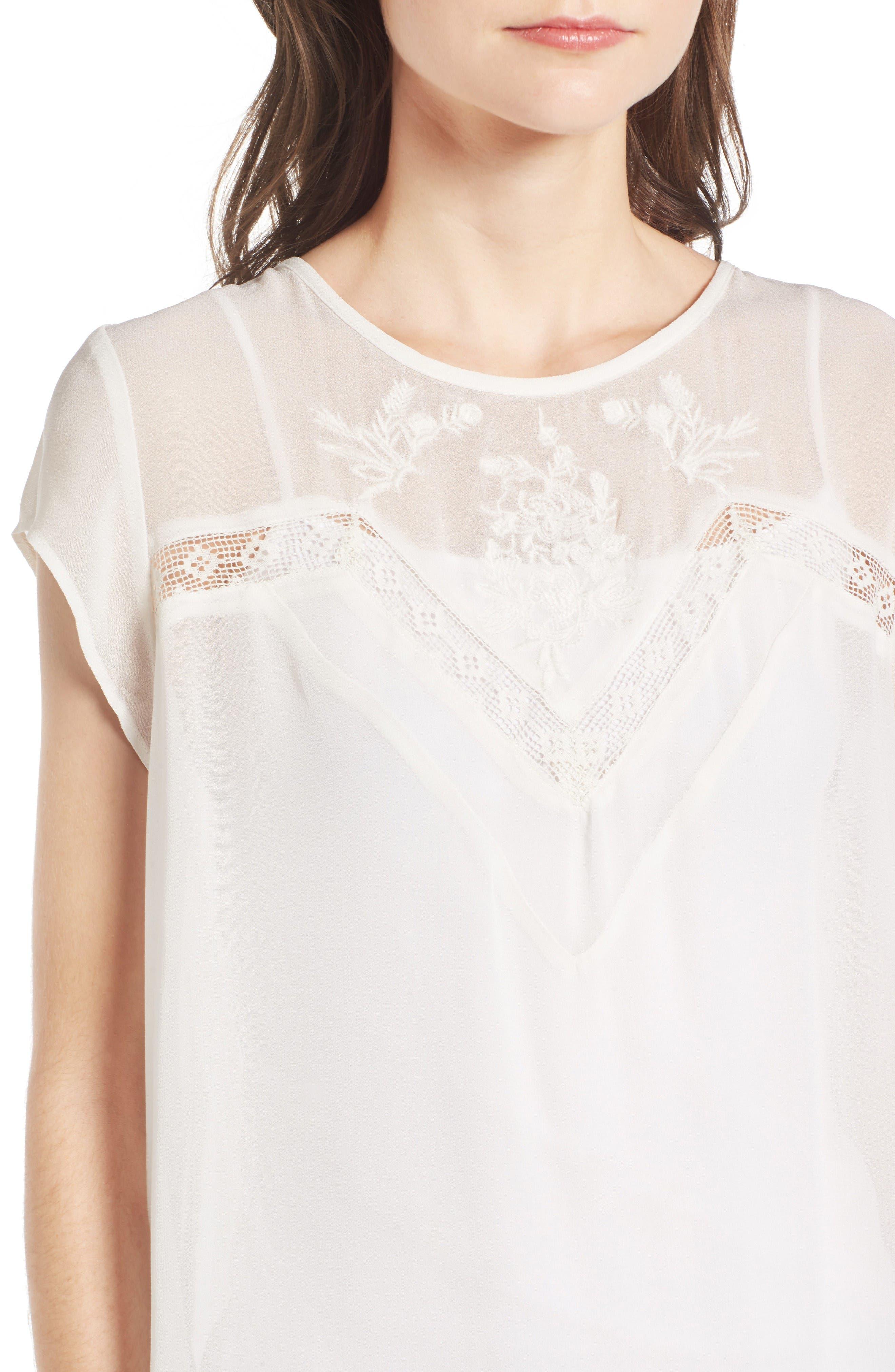 Alternate Image 5  - Hinge Embroidered Lace Yoke Top