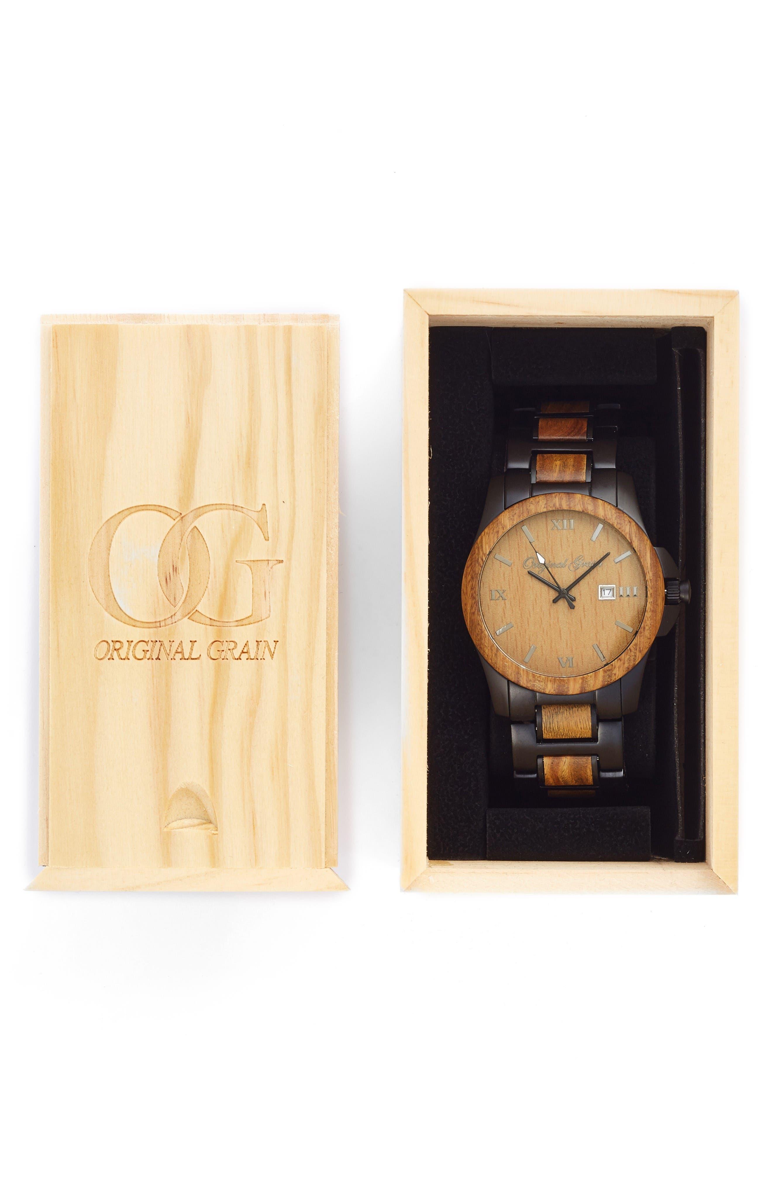 The Classic Bracelet Watch, 43mm,                             Alternate thumbnail 4, color,                             Vera Wood/ Matte Black