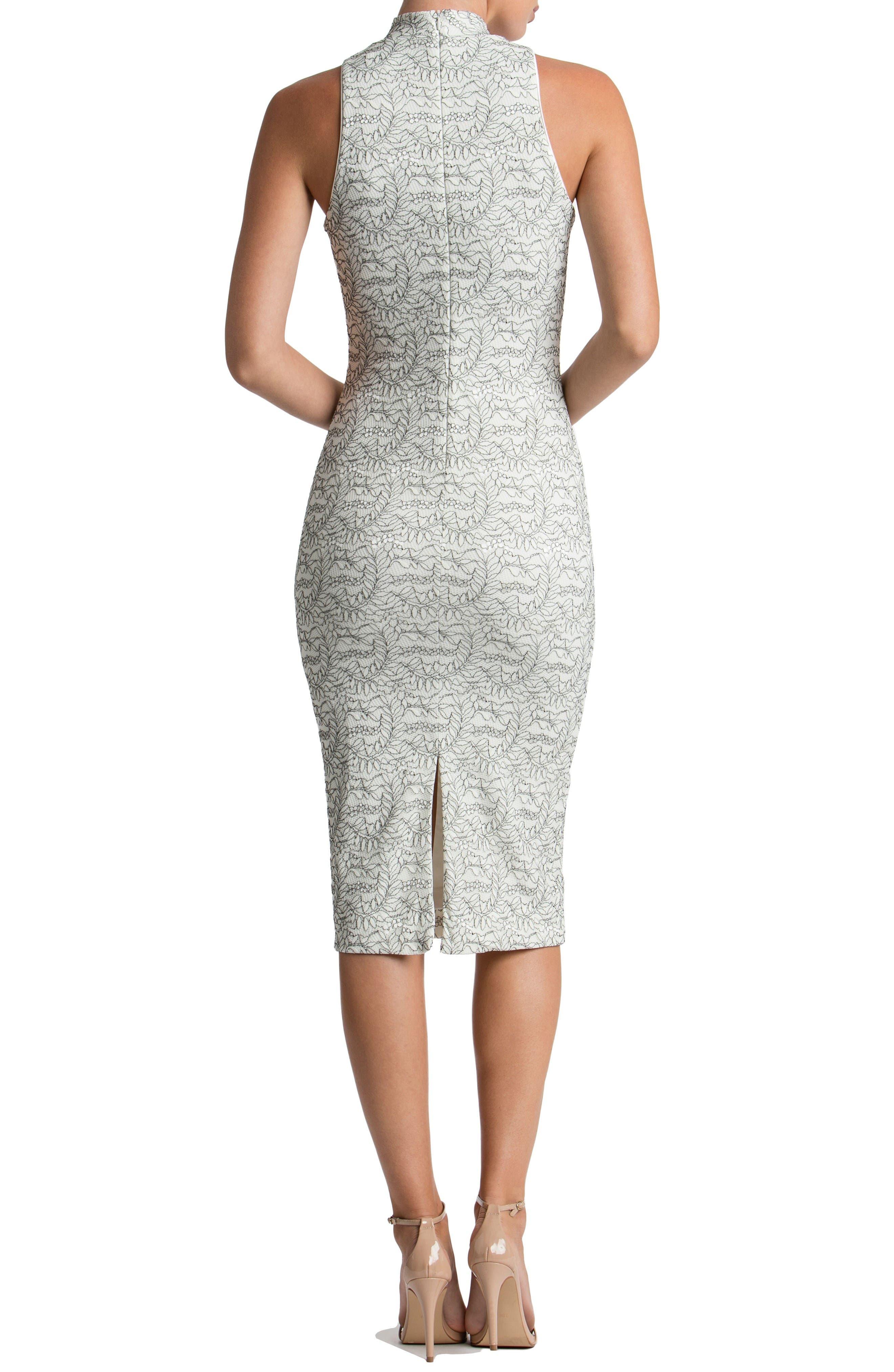 Norah Lace Midi Dress,                             Alternate thumbnail 2, color,                             Off White/ Black