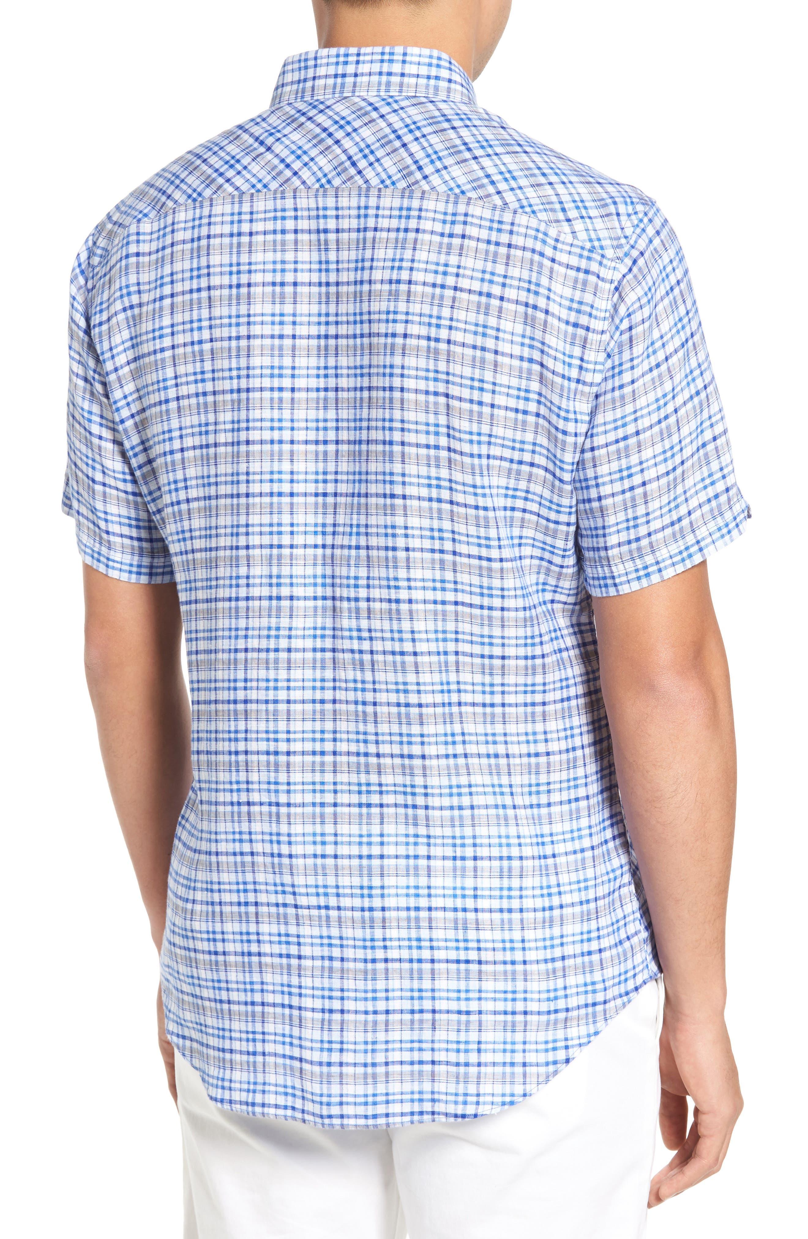 Bean Trim Fit Plaid Linen Sport Shirt,                             Alternate thumbnail 2, color,                             Royal