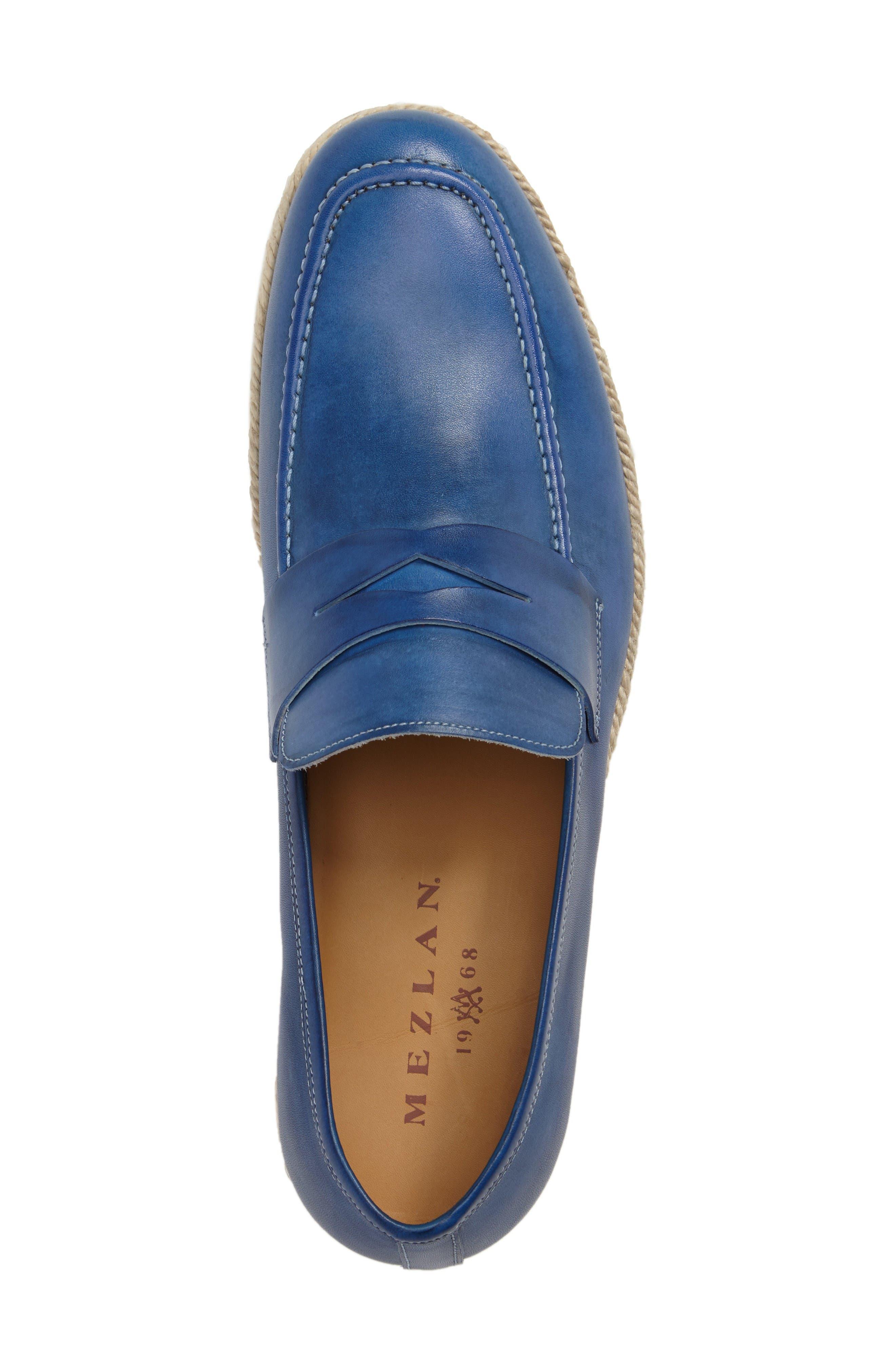 Battani Penny Loafer,                             Alternate thumbnail 5, color,                             Blue Leather