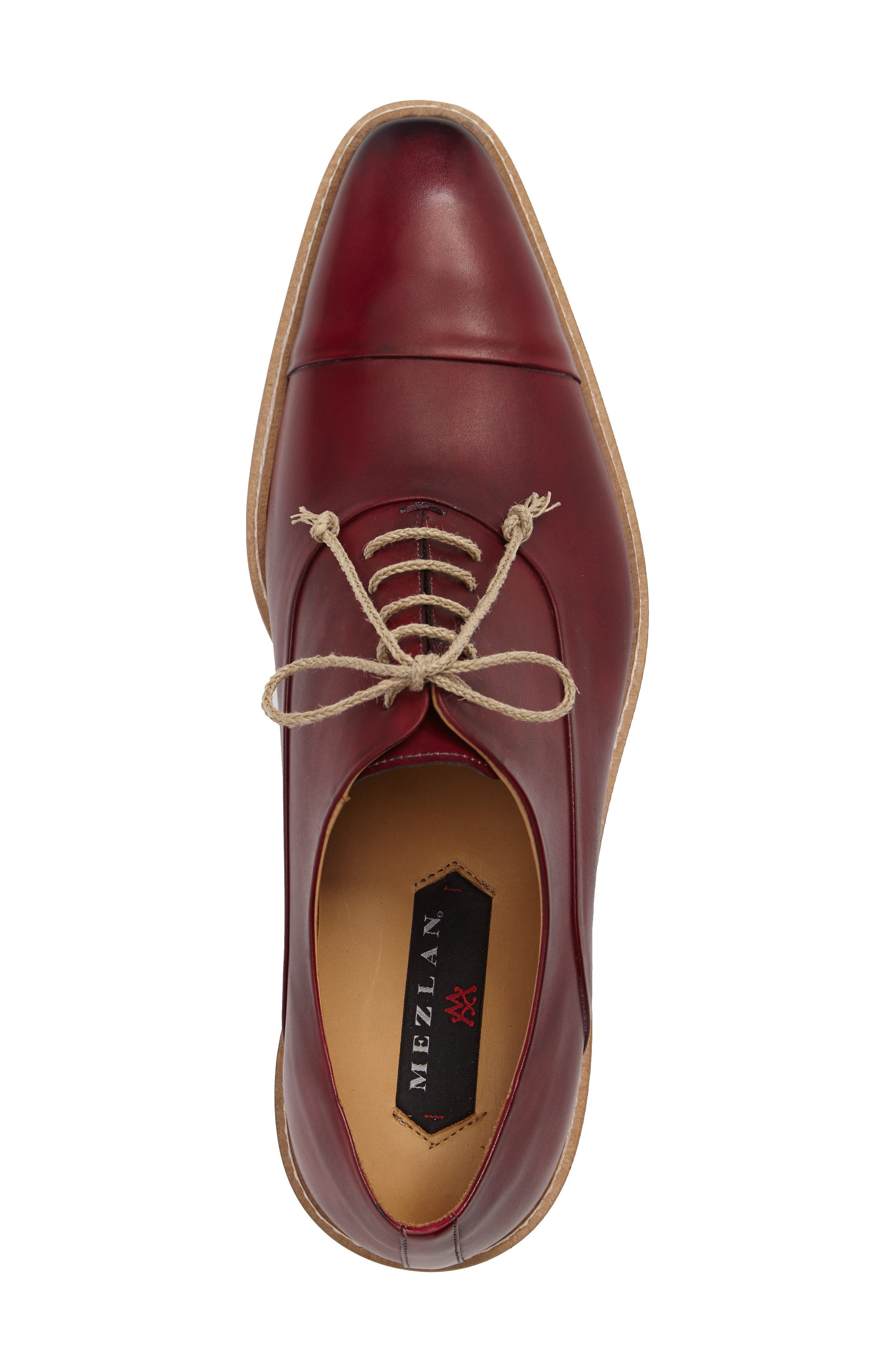 Curie Cap Toe Oxford,                             Alternate thumbnail 3, color,                             Burgundy Leather