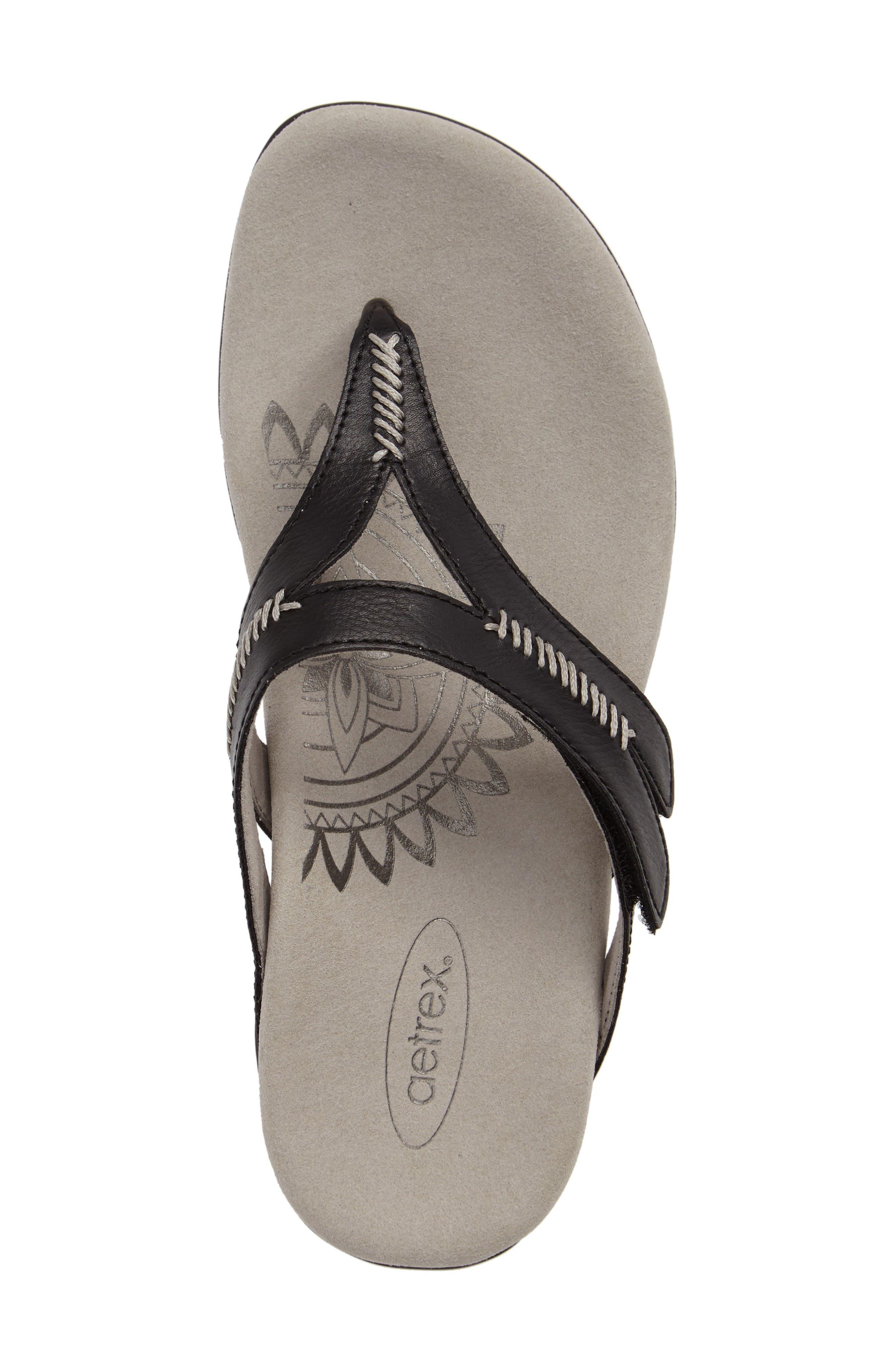 Celia Flip Flop,                             Alternate thumbnail 5, color,                             Black Leather