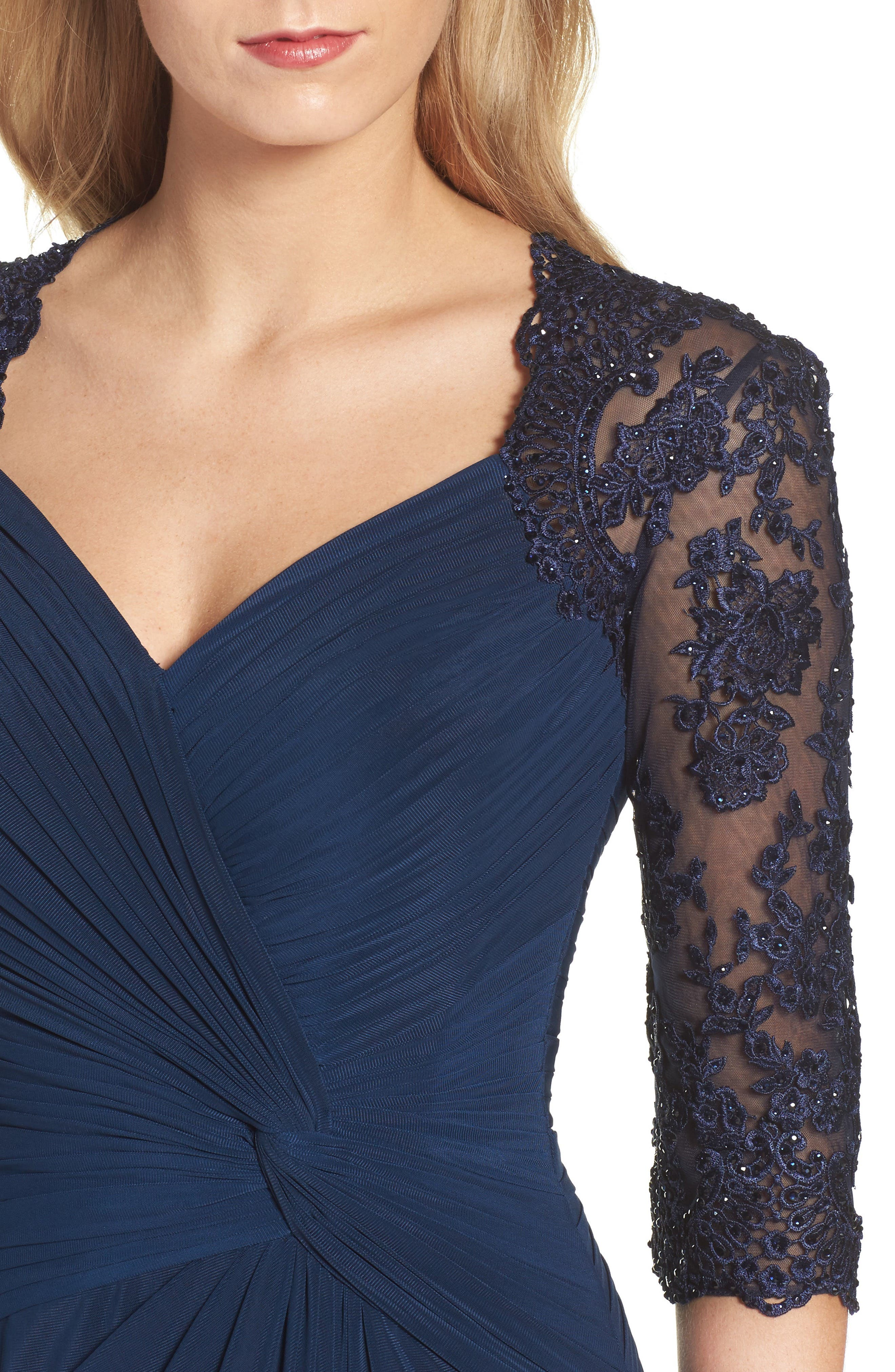 Lace & Net Ruched Twist Front Gown,                             Alternate thumbnail 4, color,                             Navy