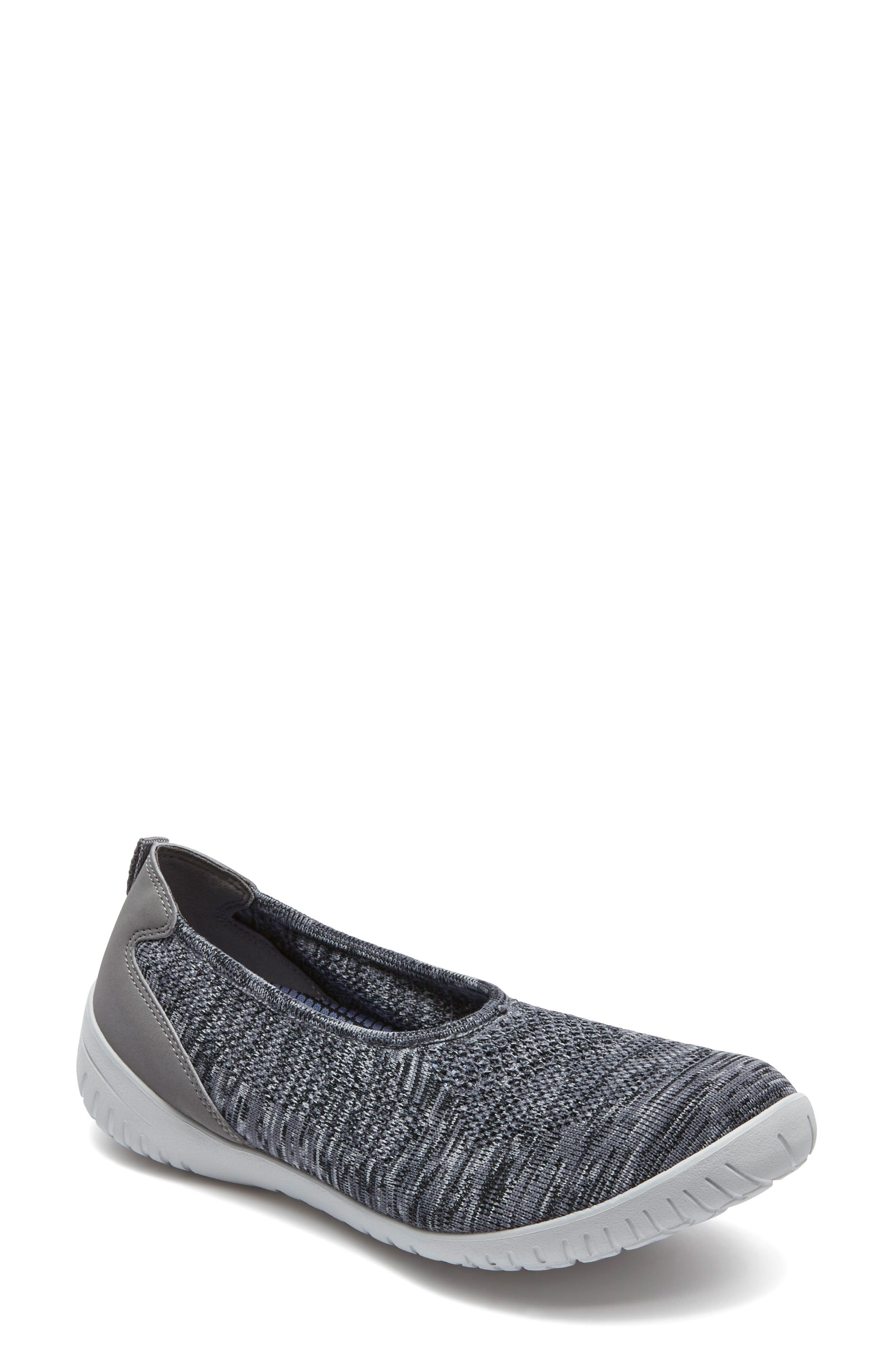 Raelyn Knit Ballet Sneaker,                             Main thumbnail 1, color,                             Dark Grey Heather Fabric