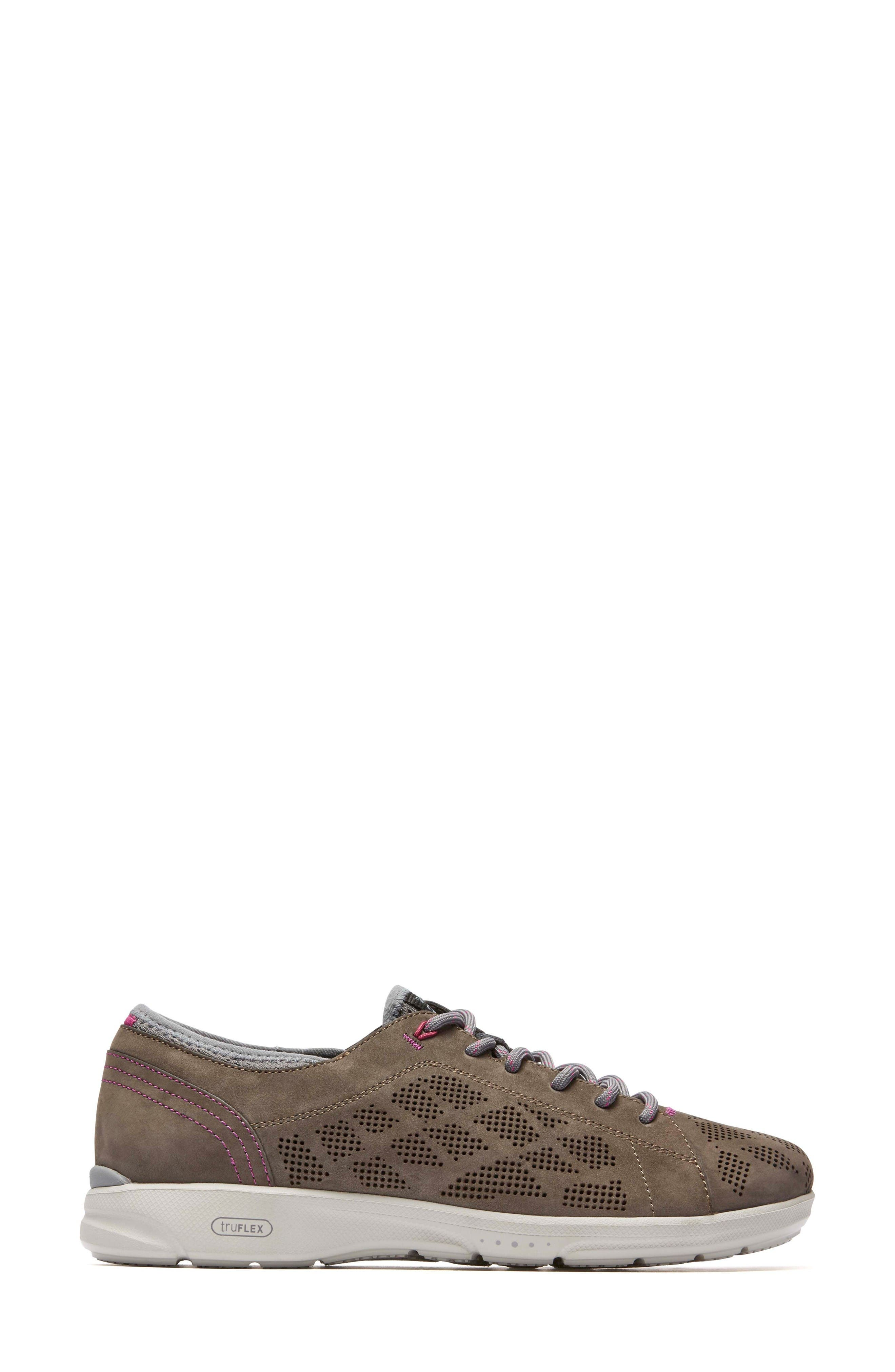 truFLEX Perforated Sneaker,                             Alternate thumbnail 3, color,                             Stone Leather