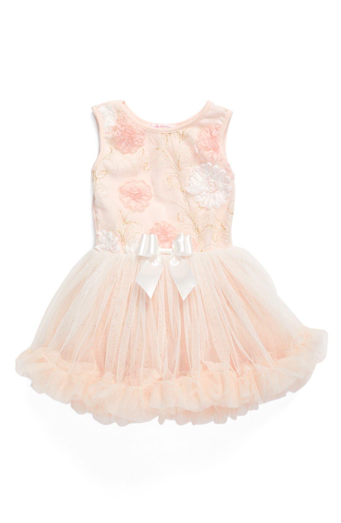 Main Image - Popatu Peach Elegant Flower Fit & Flare Dress (Baby Girls)