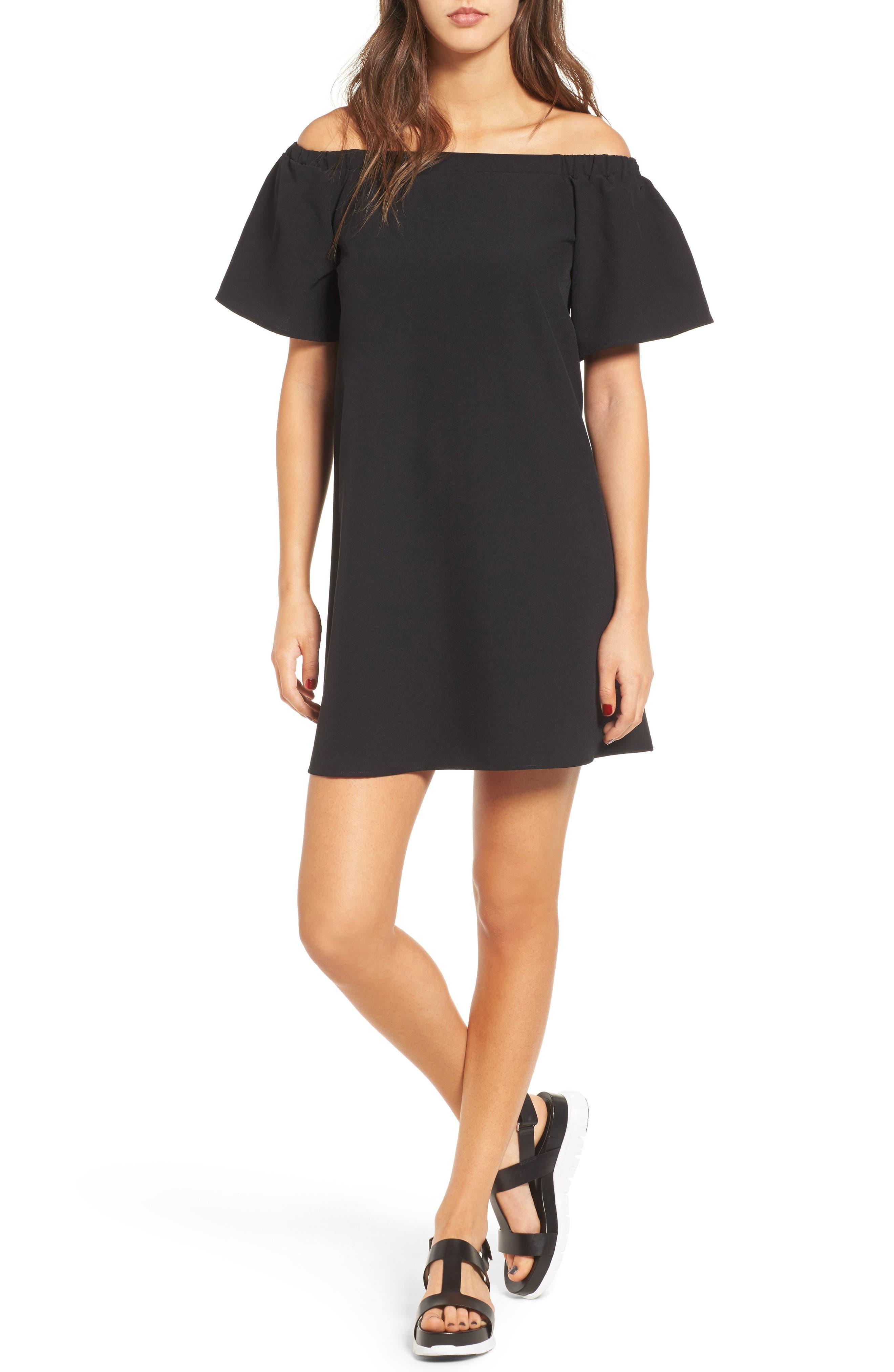 Off the Shoulder Shift Dress,                         Main,                         color, Black