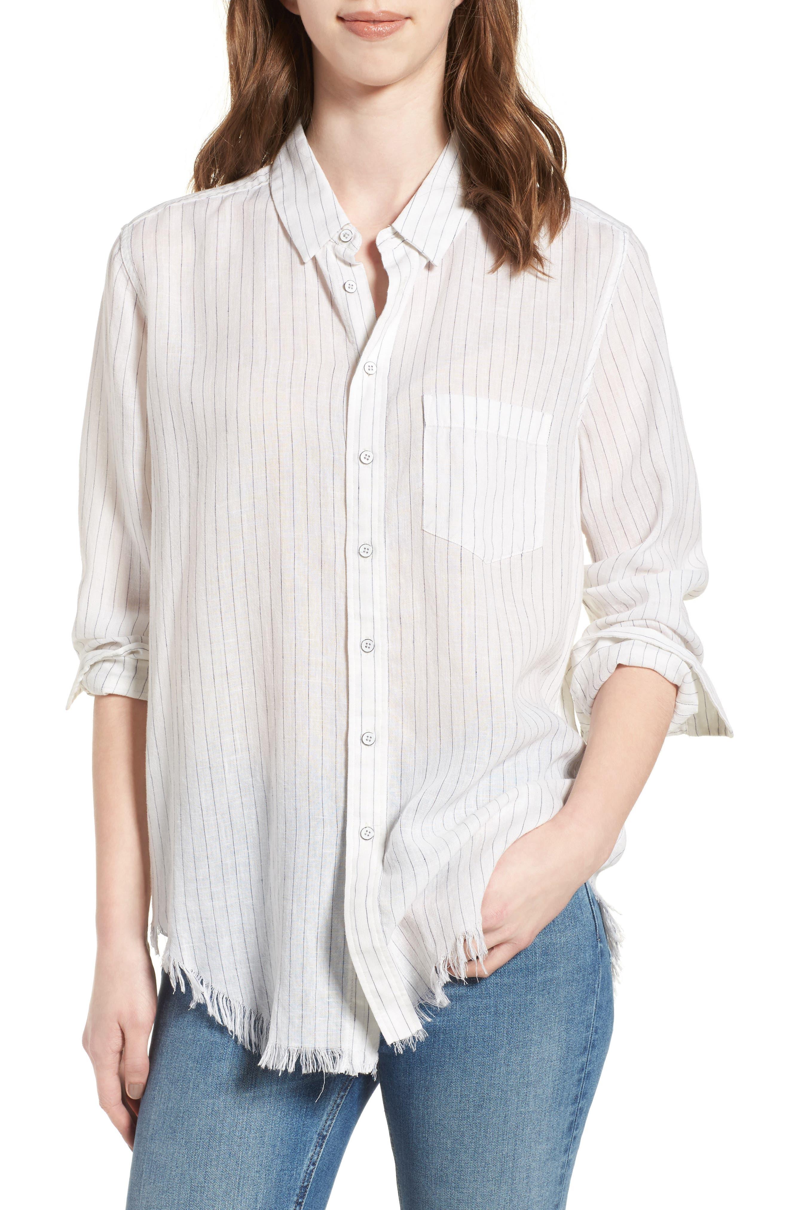 Nassau & Manhattan Boyfriend Shirt,                             Main thumbnail 1, color,                             Blue/ Cream