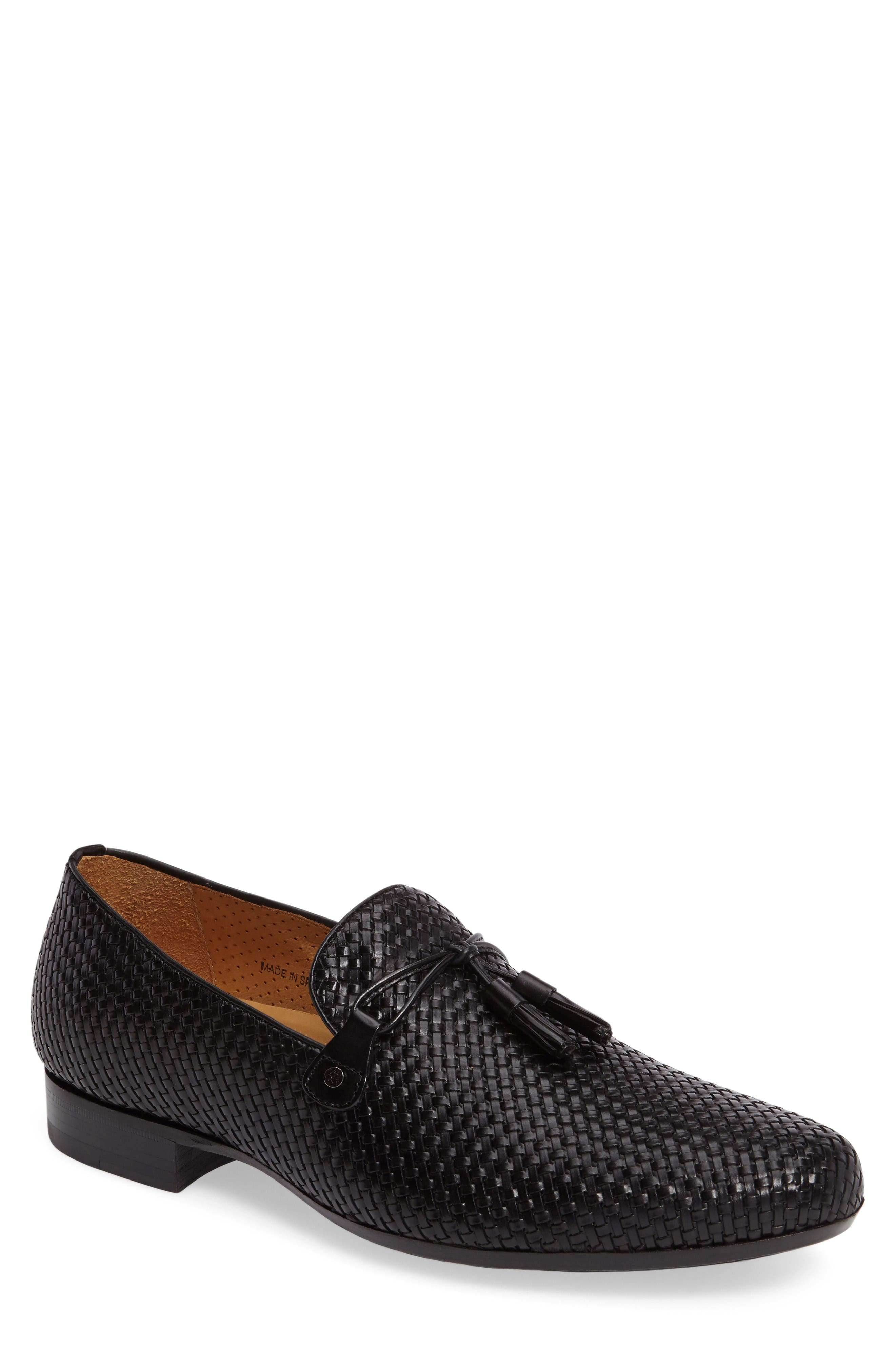 Turning Woven Tassel Loafer,                             Main thumbnail 1, color,                             Black Leather