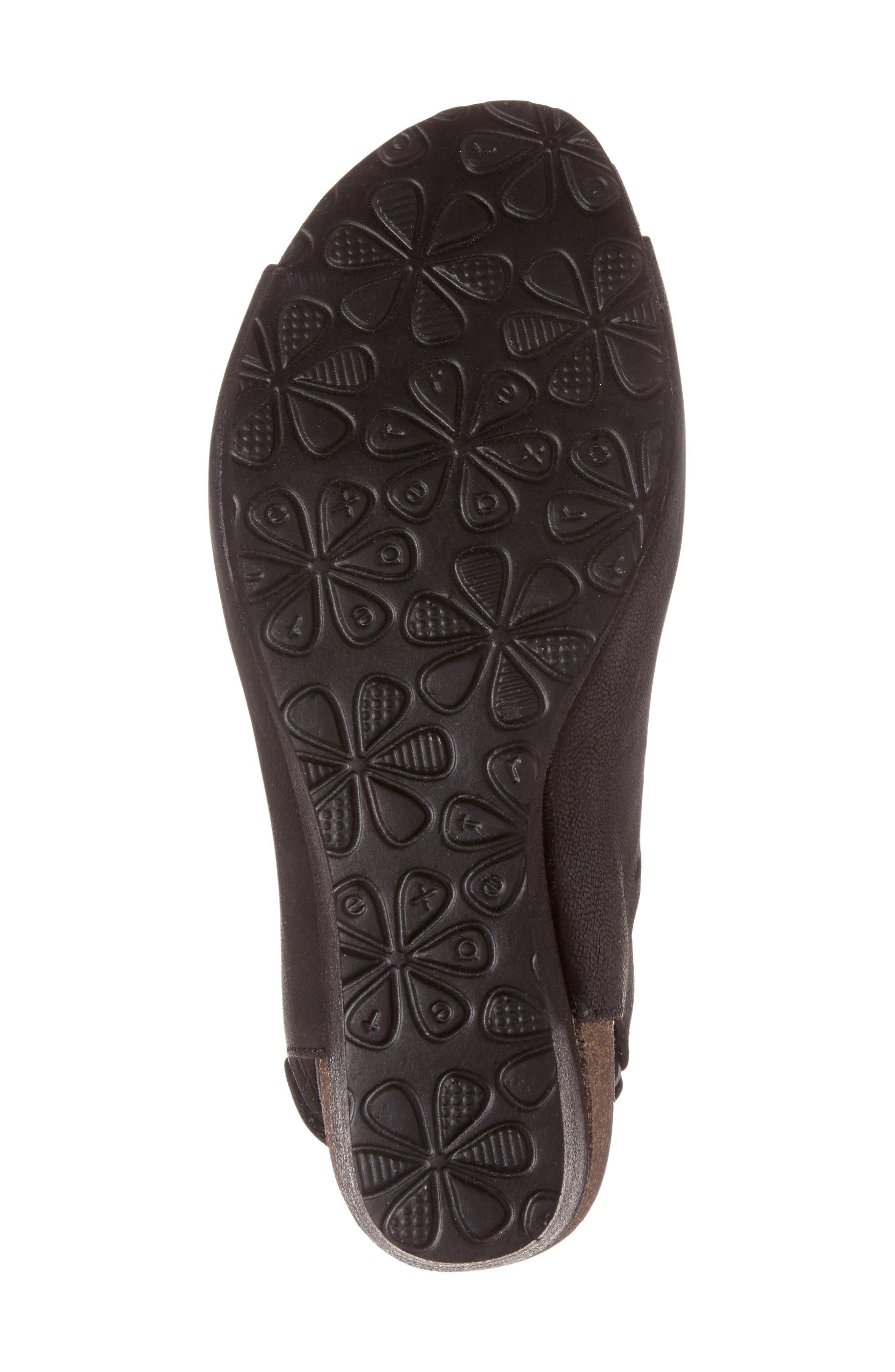 Giselle Slingback Wedge Sandal,                             Alternate thumbnail 6, color,                             Black Leather