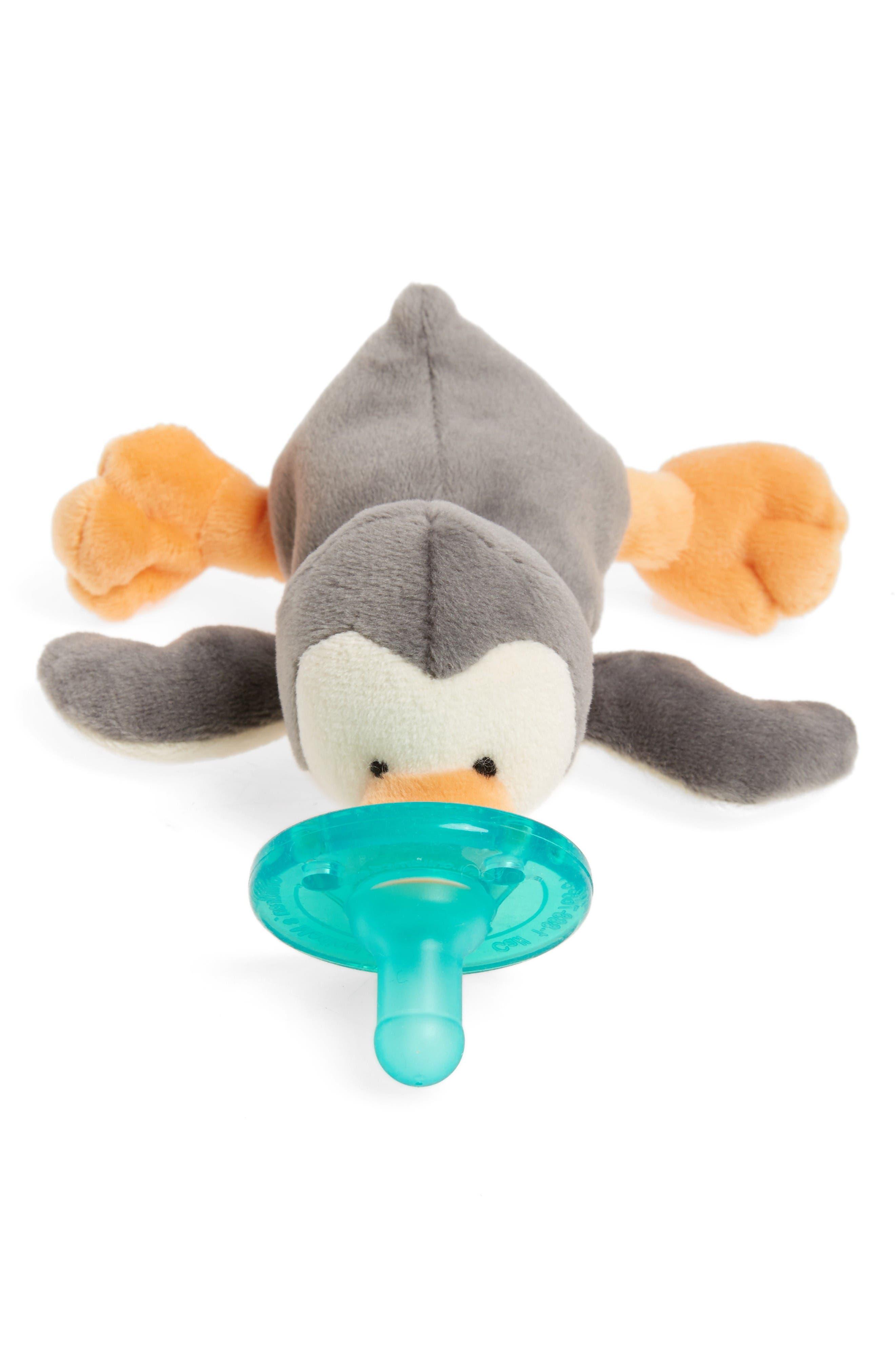 WubbaNub™ Grey Penguin Pacifier Toy