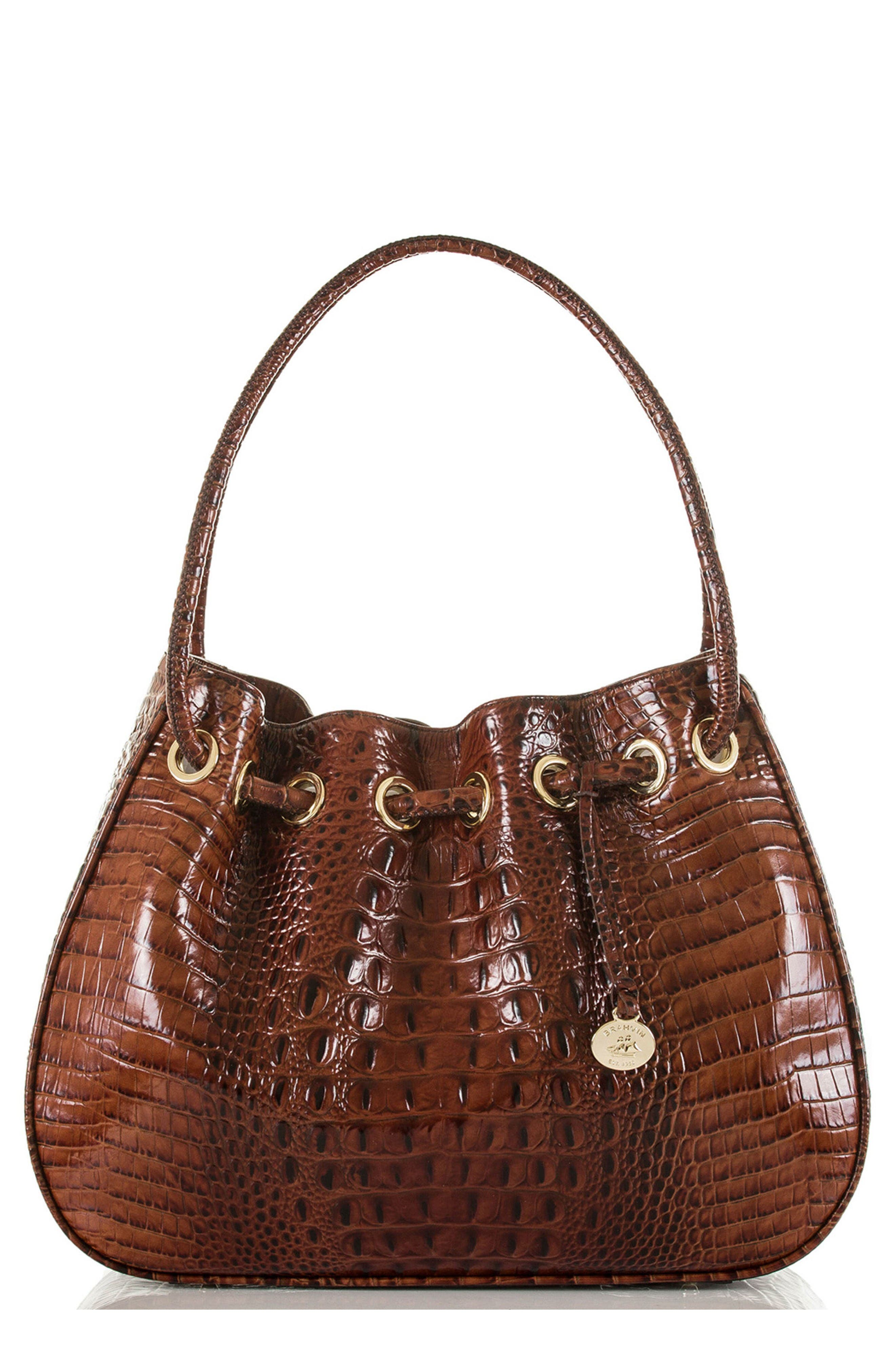 Amy Embossed Leather Drawstring Bucket Bag,                         Main,                         color, Pecan