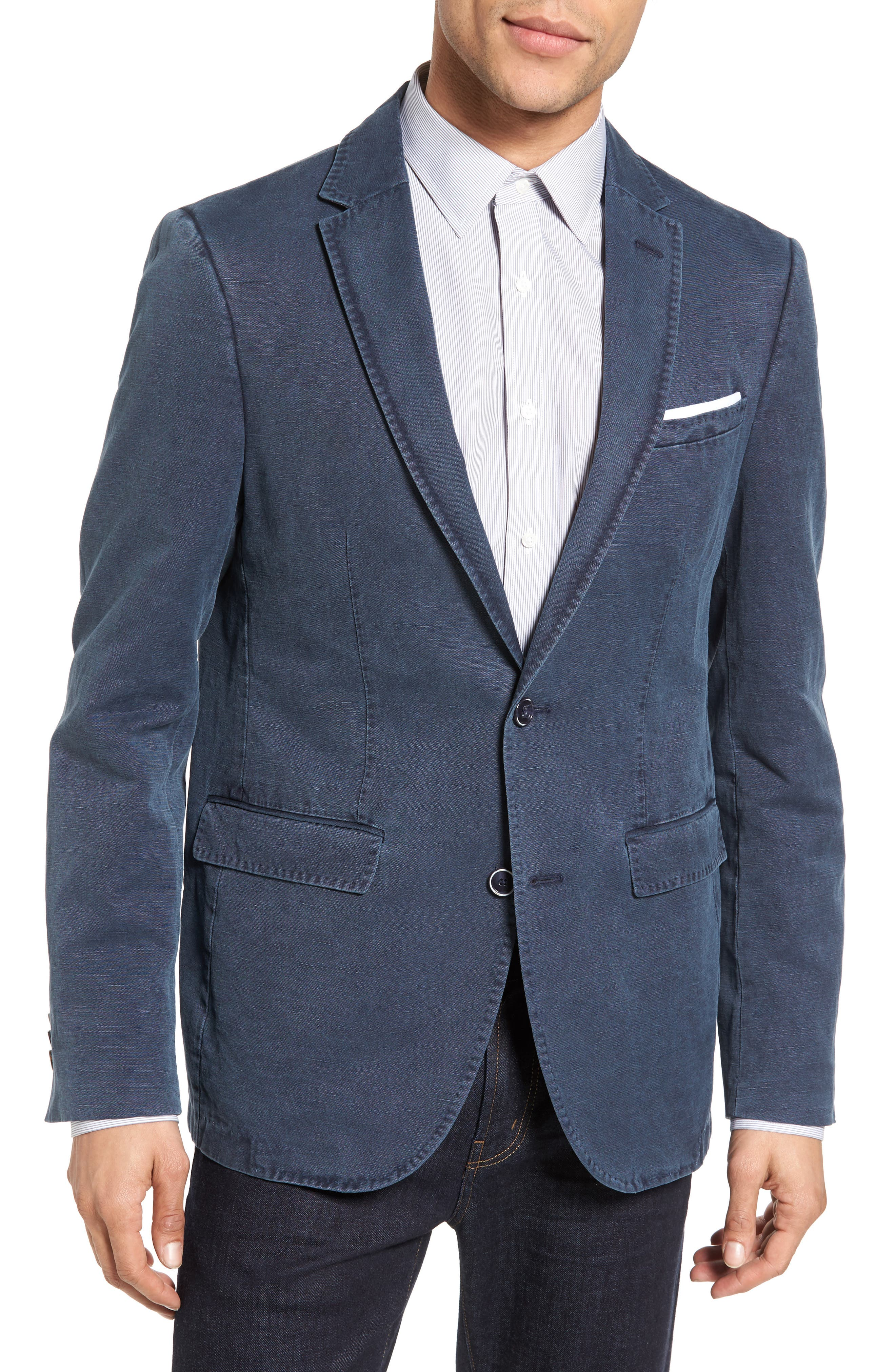 Trim Fit Cotton & Linen Blazer,                         Main,                         color, Navy