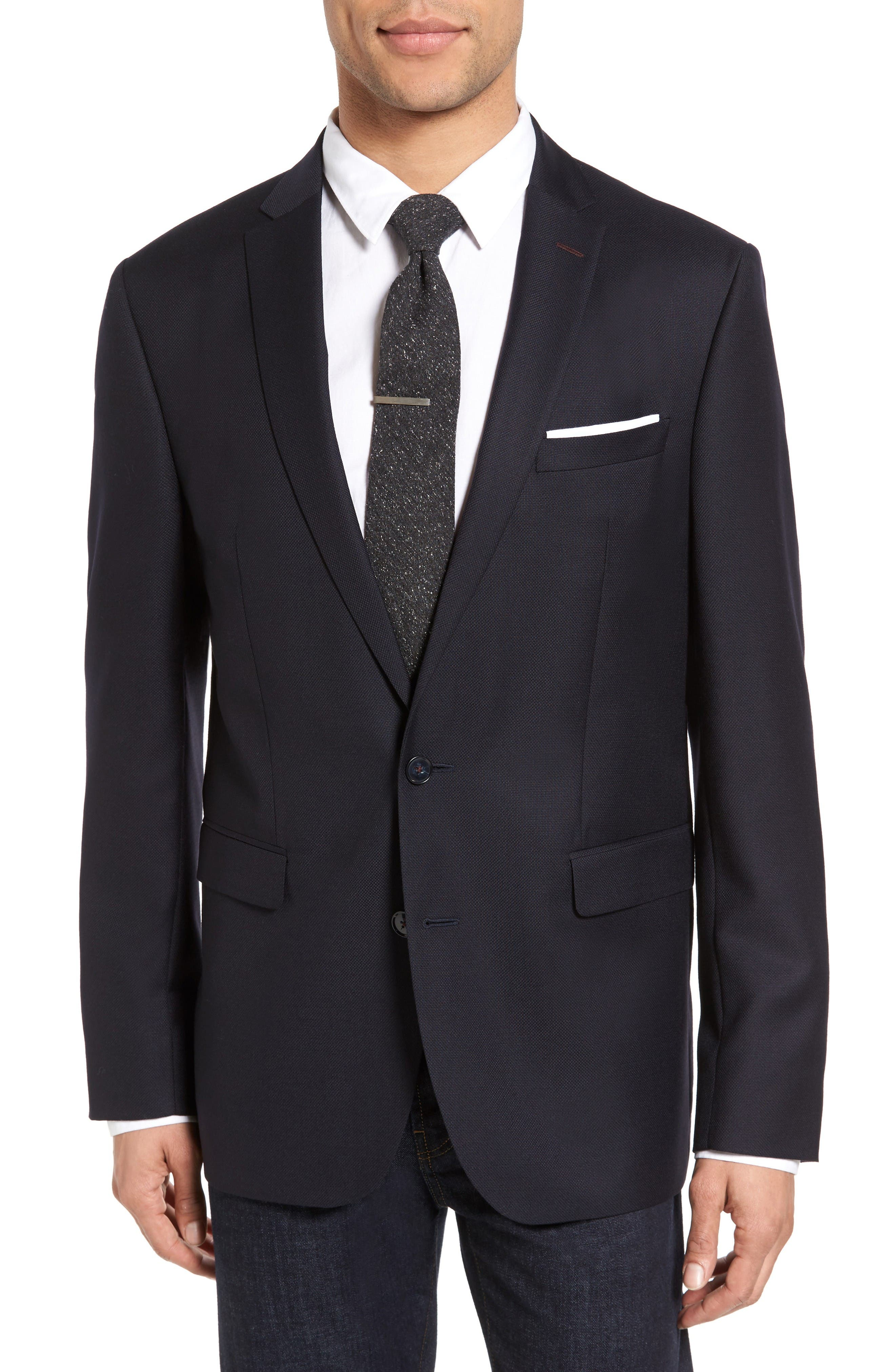 Trim Fit Hopsack Wool Blazer,                         Main,                         color, Navy