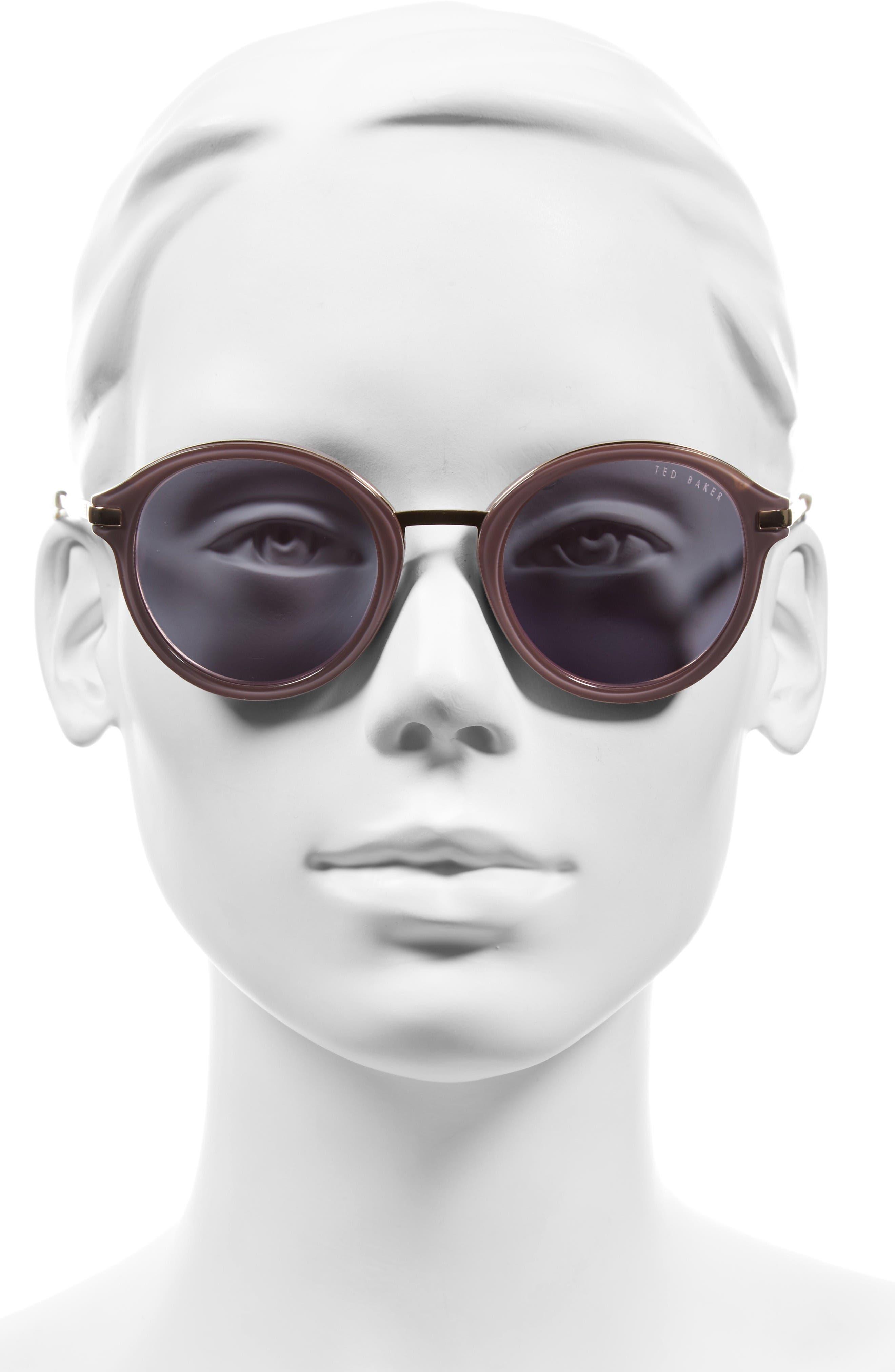 49mm Round Sunglasses,                             Alternate thumbnail 2, color,                             Grey