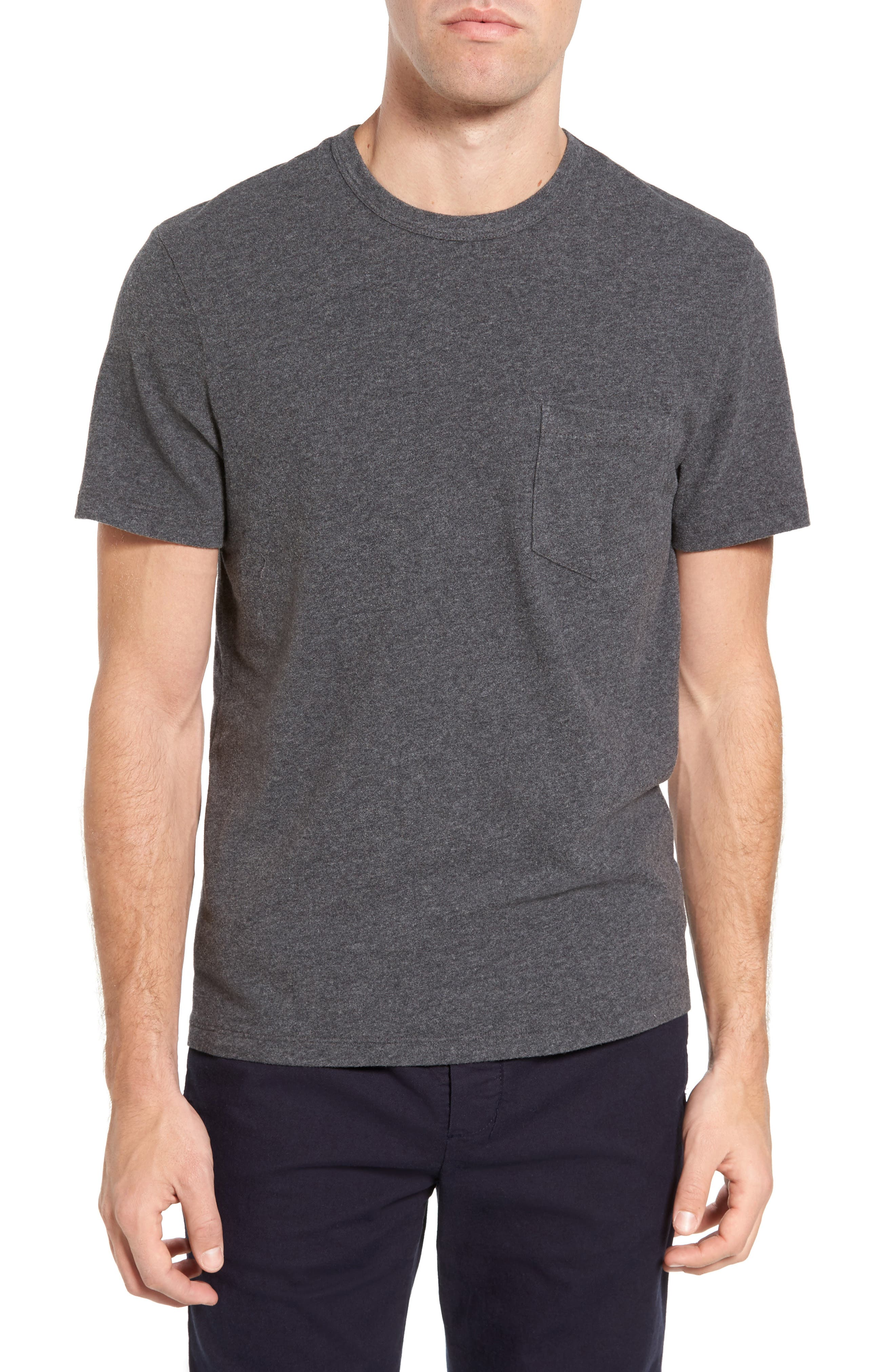 Sueded Jersey Pocket T-Shirt,                         Main,                         color, Heather Charcoal