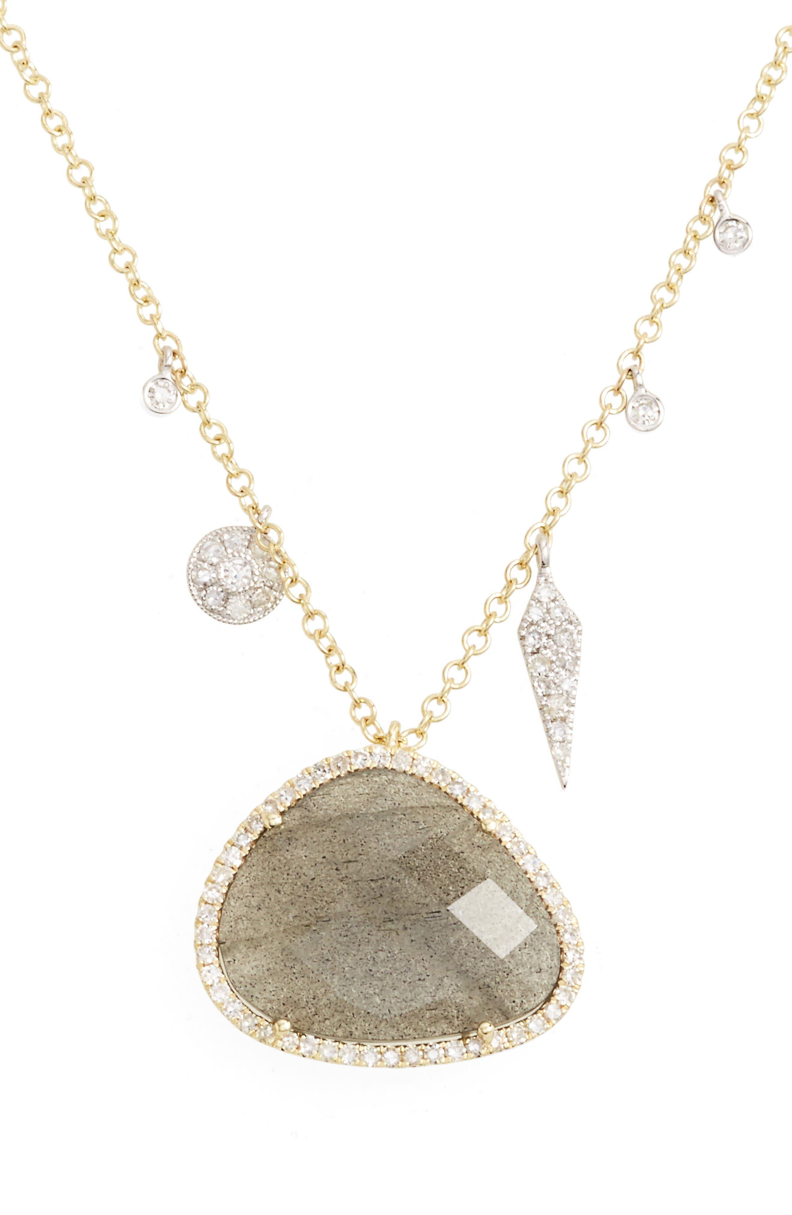 Jewelry Diamond & Semiprecious Stone Pendant Necklace,                         Main,                         color, Yellow Gold/ Labradorite