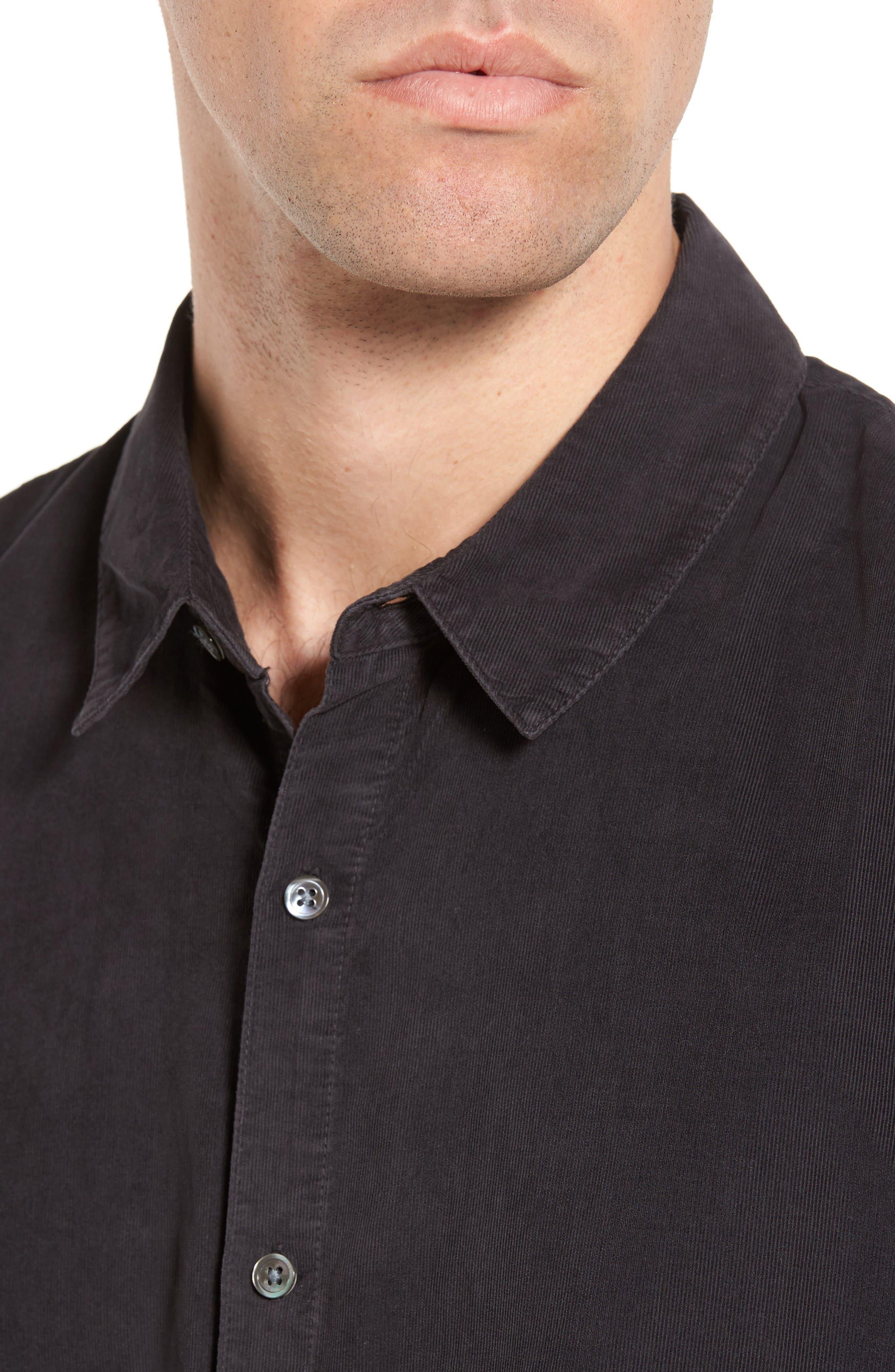 Corduroy Sport Shirt,                             Alternate thumbnail 4, color,                             Carbon Pigment