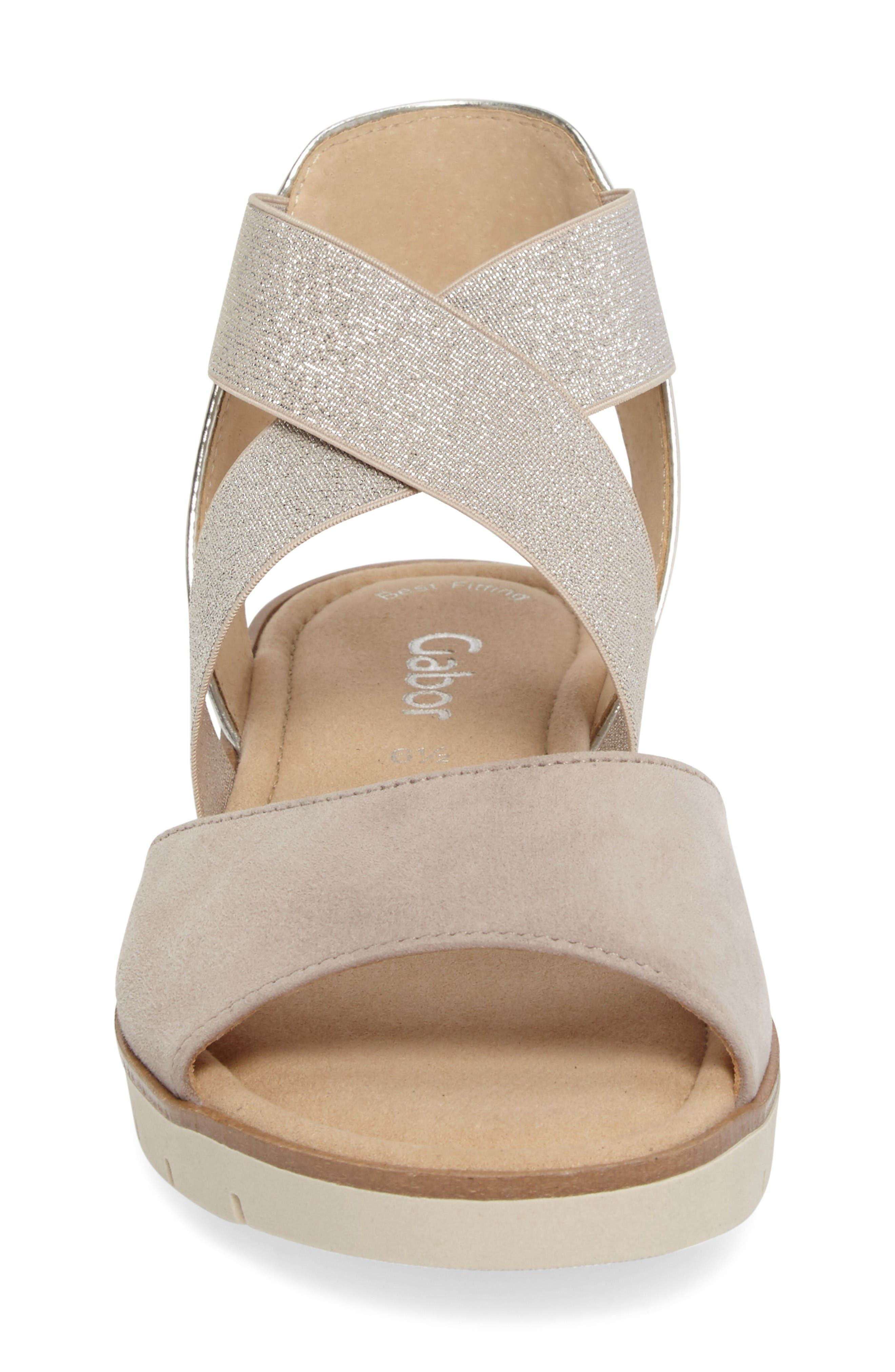 Strappy Sandal,                             Alternate thumbnail 4, color,                             Beige Leather