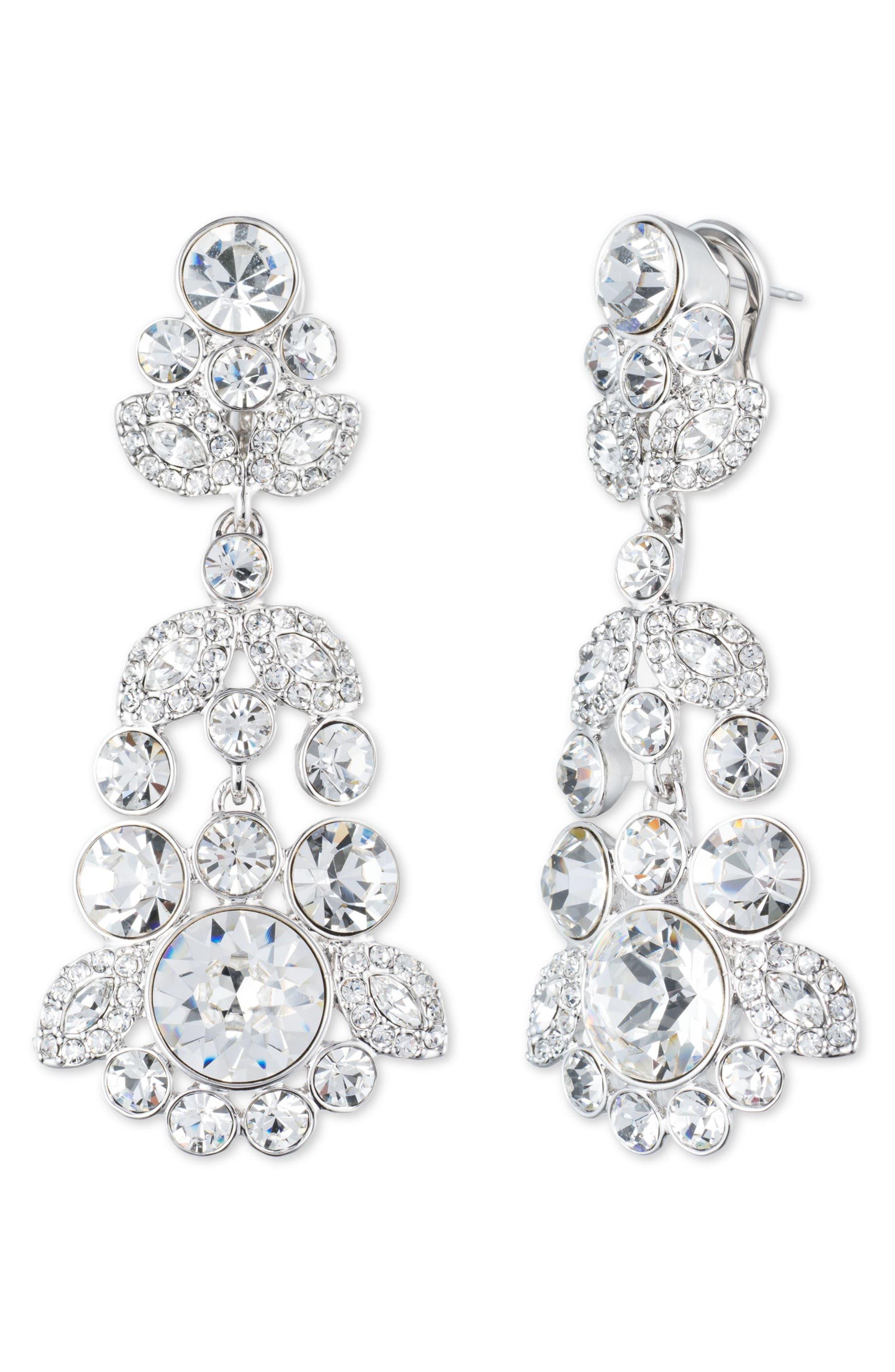 Crystal Chandelier Earrings,                         Main,                         color, Silver