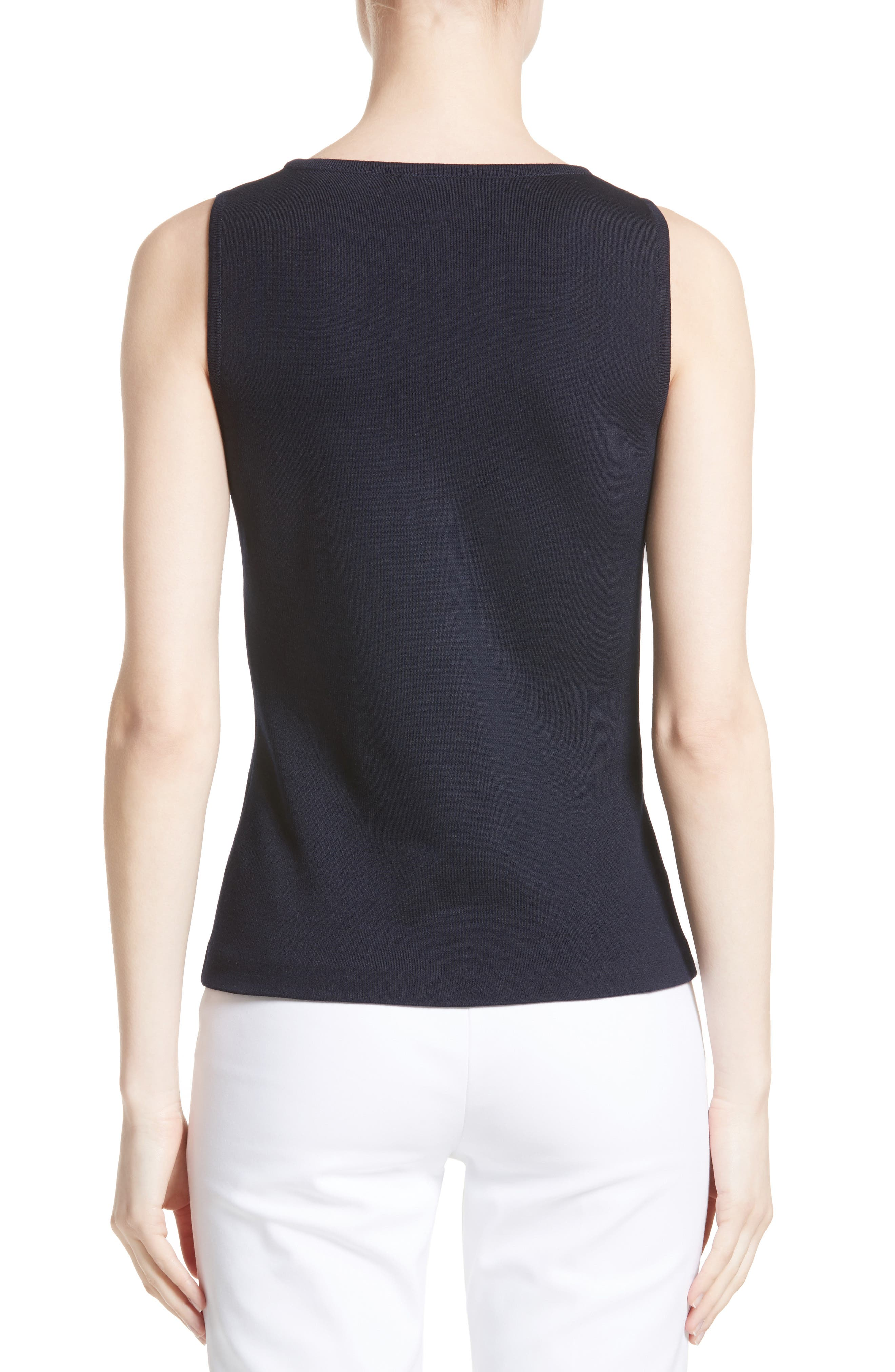 Milano Knit Contour Tank,                             Alternate thumbnail 2, color,                             Navy
