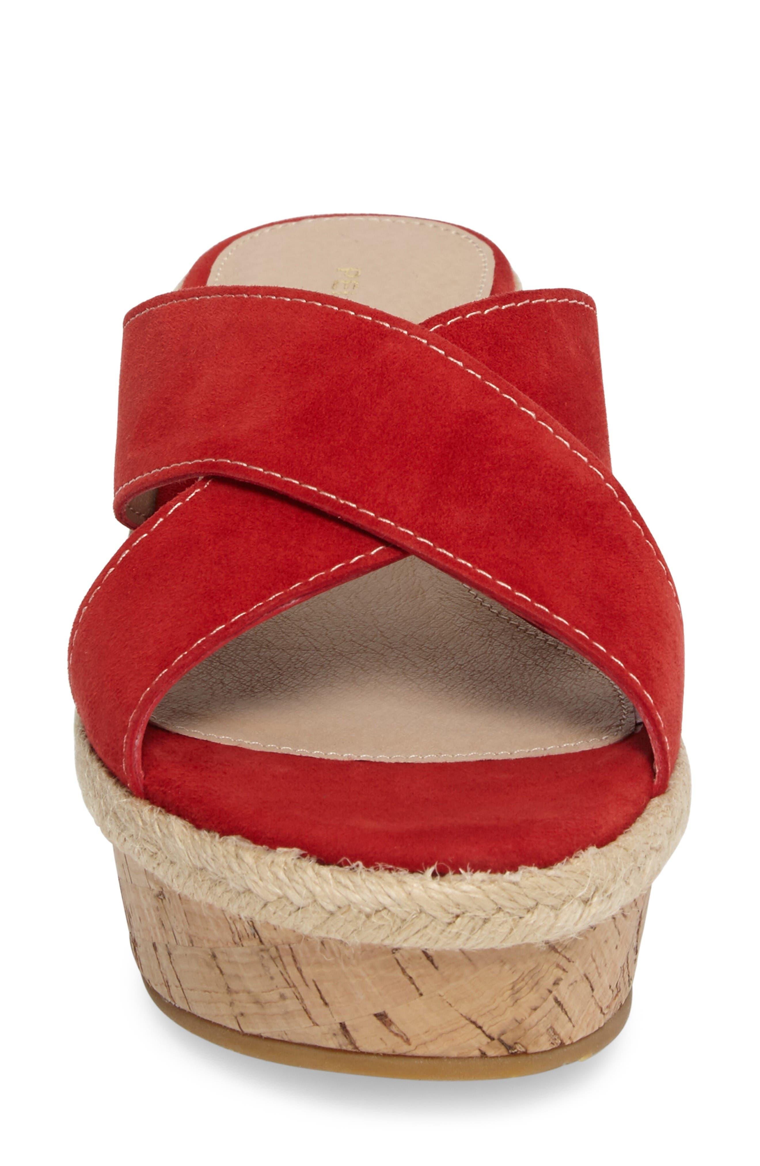 Harriet Platform Wedge Sandal,                             Alternate thumbnail 4, color,                             Lipstick Leather
