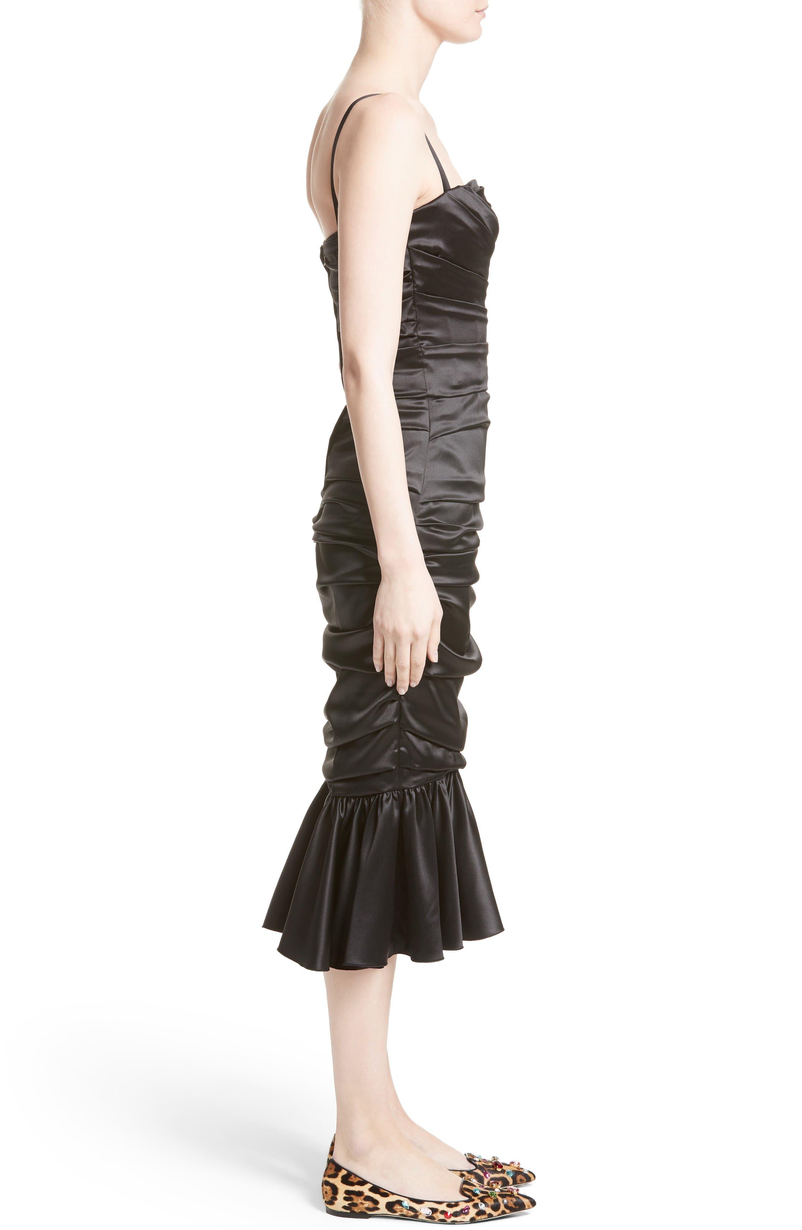 Ruched Stretch Satin Dress,                             Alternate thumbnail 6, color,                             Black