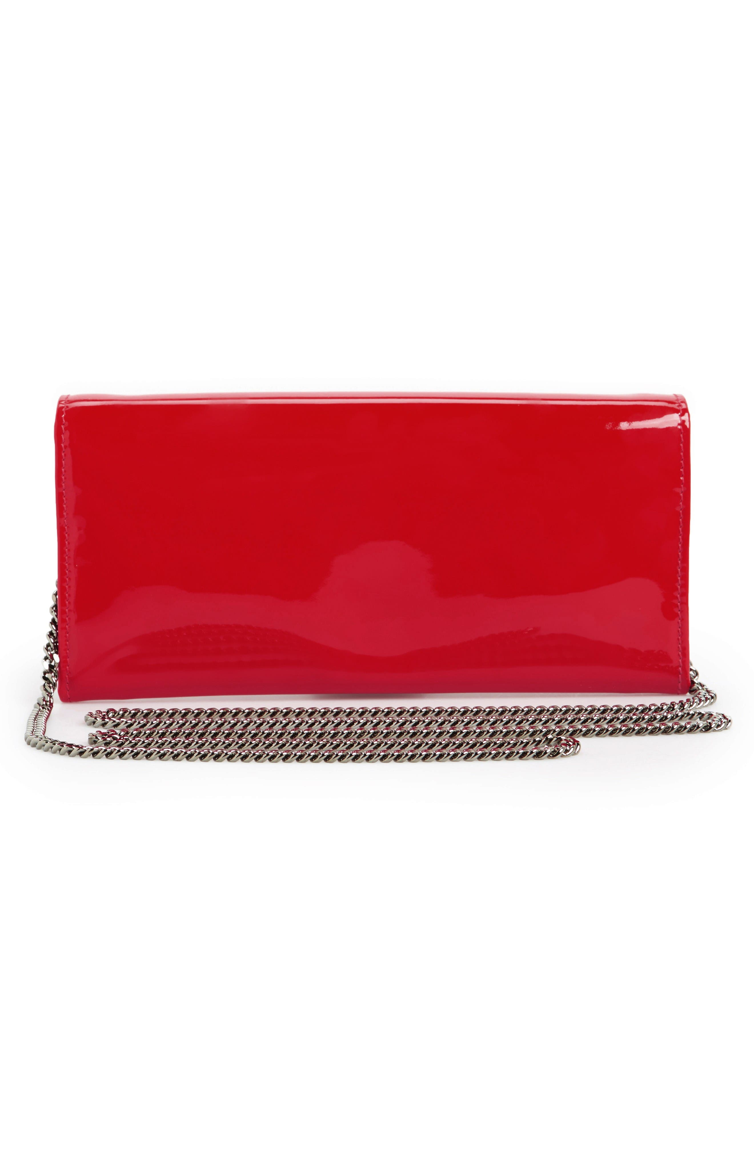 'Milla' Patent Leather Wallet on a Chain,                             Alternate thumbnail 4, color,                             Red