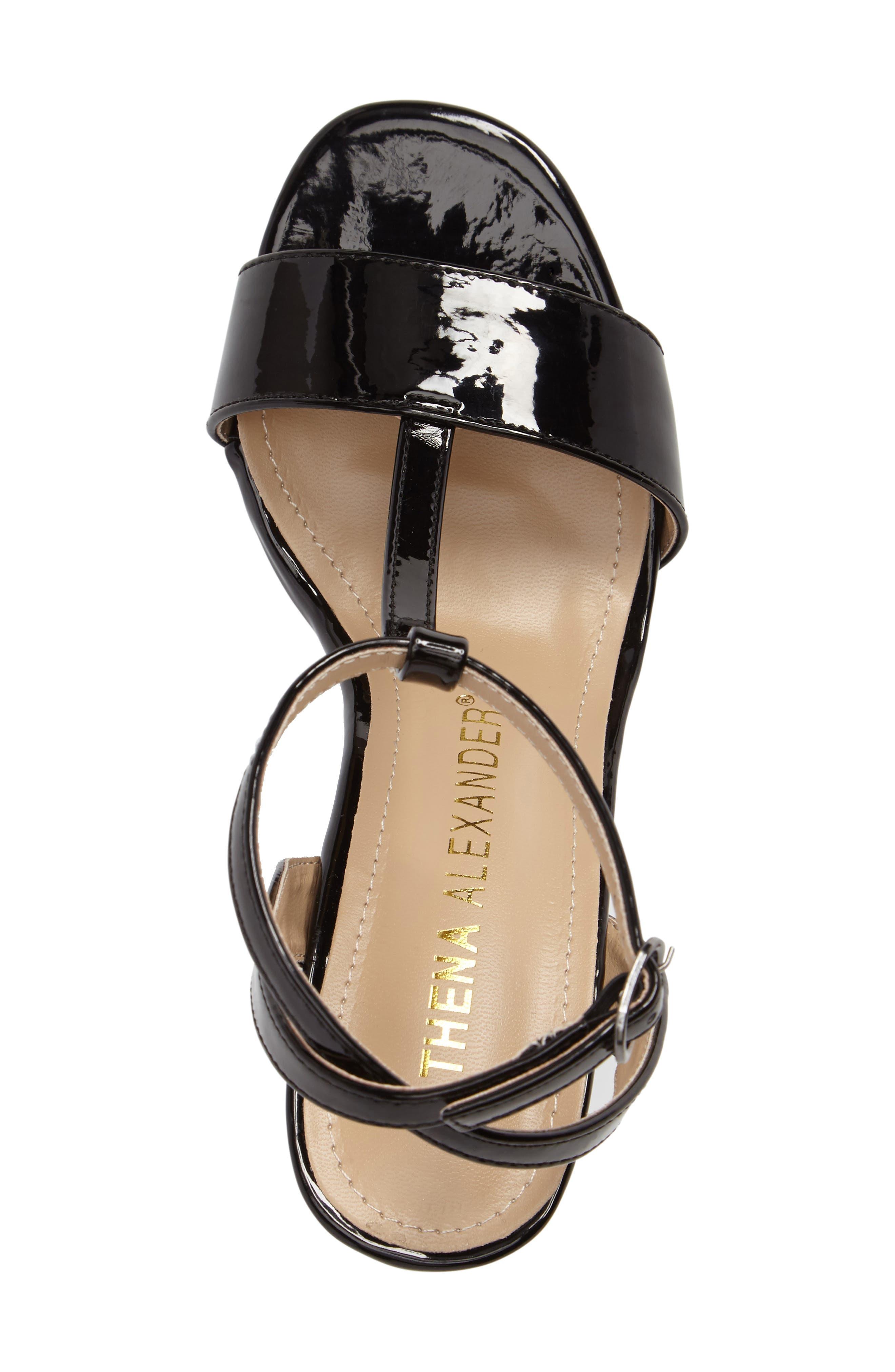 Ditaa T-Strap Sandal,                             Alternate thumbnail 5, color,                             Black Faux Patent