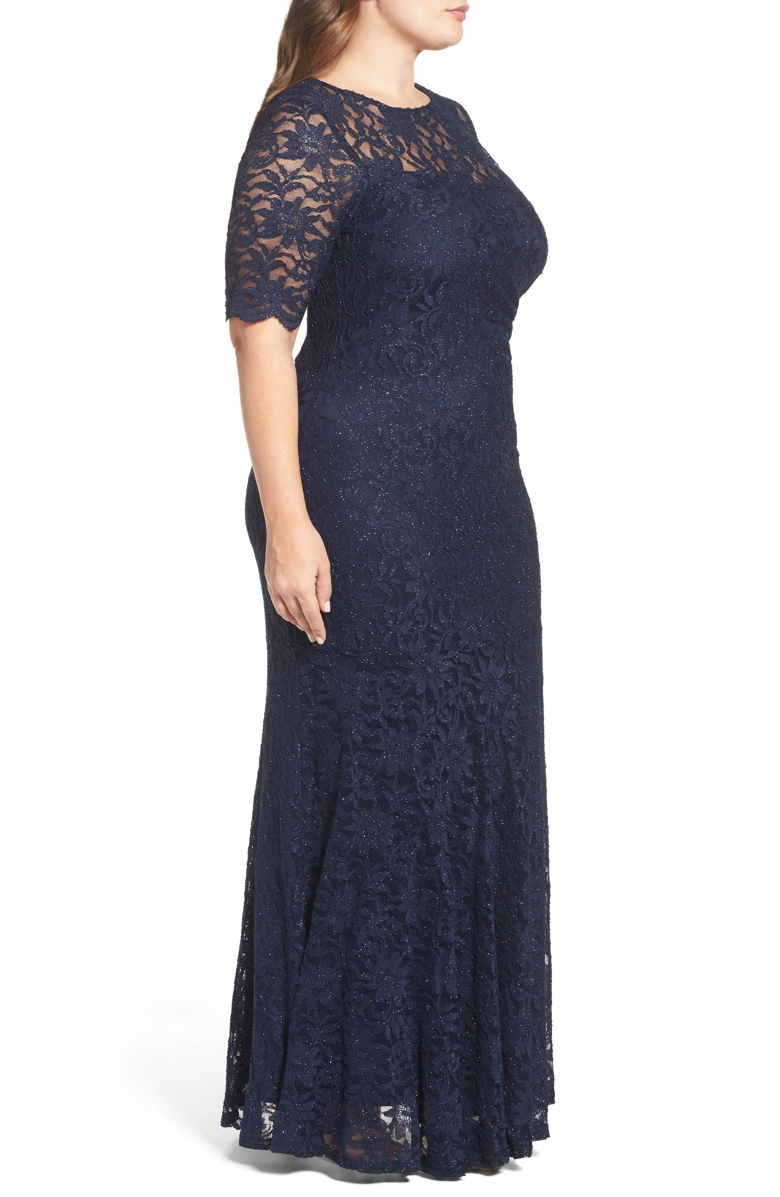 A-Line Stretch Lace Gown,                             Alternate thumbnail 3, color,                             Navy