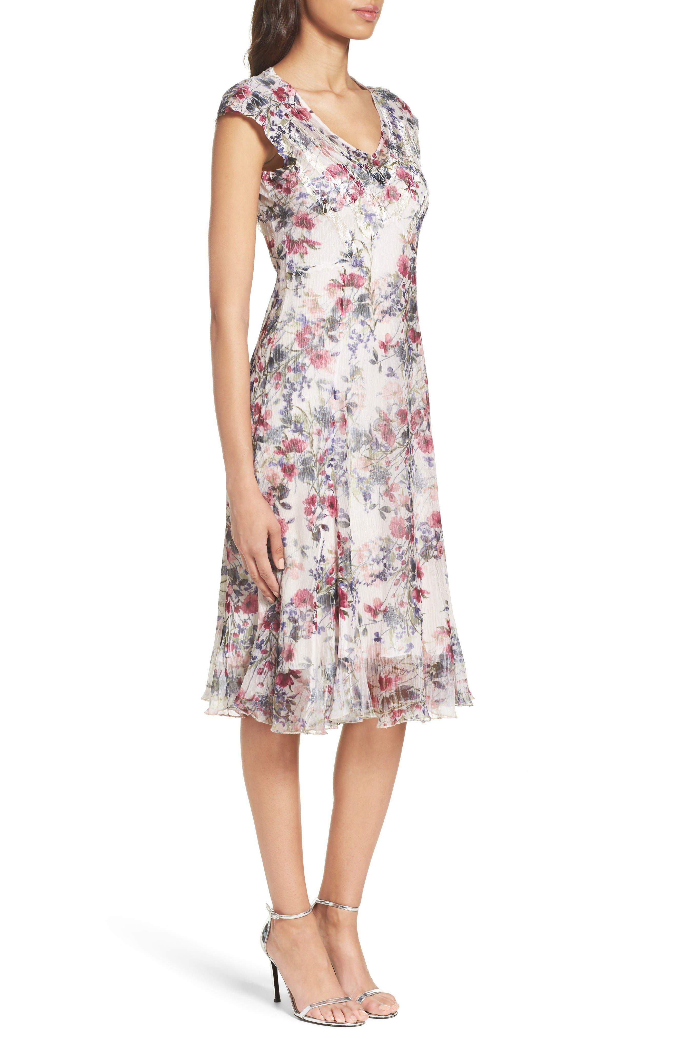 Chiffon Midi Dress,                             Alternate thumbnail 3, color,                             Wildflower