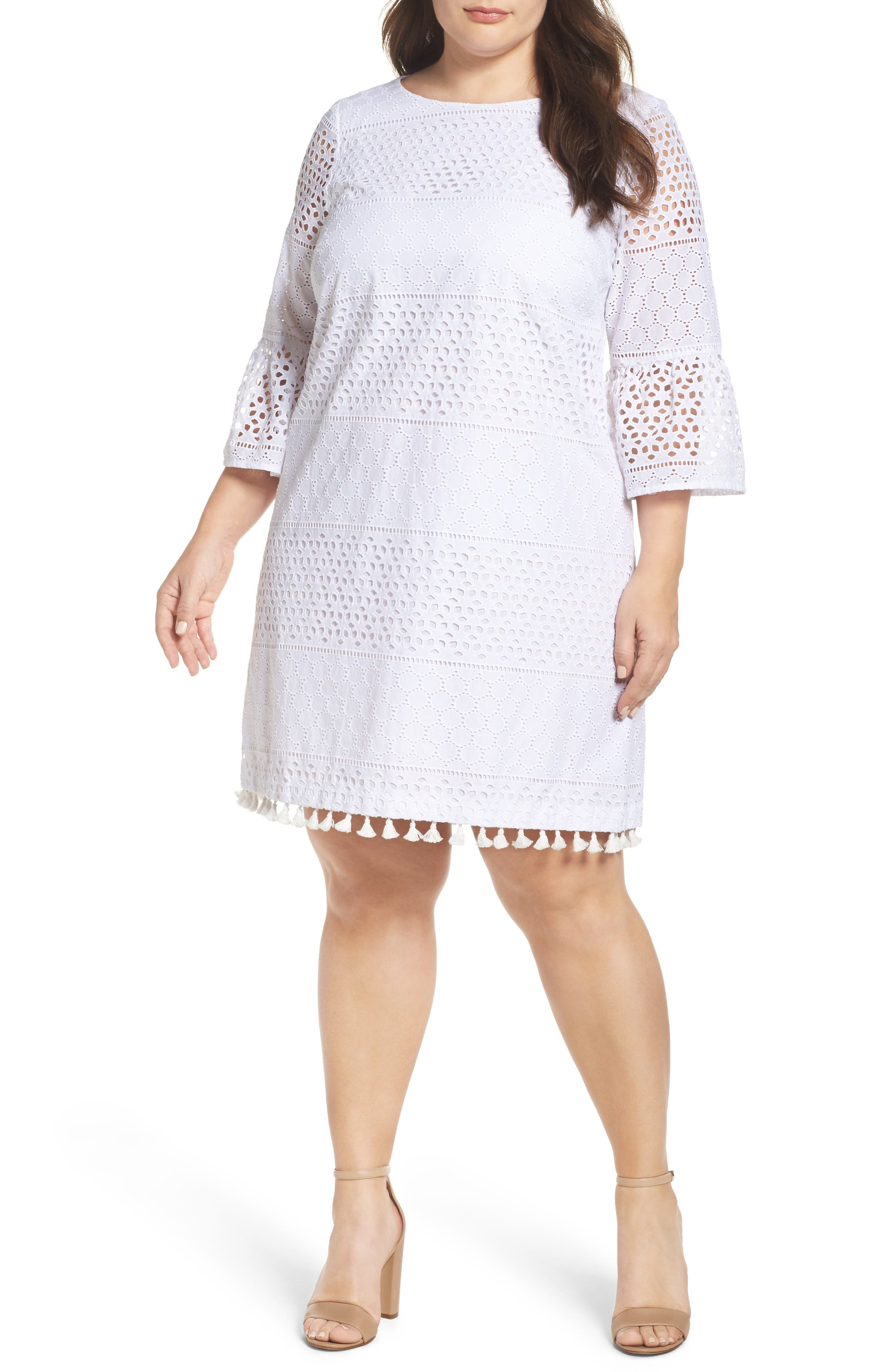 Vince Camuto Eyelet Bell Sleeve Shift Dress (Plus Size)