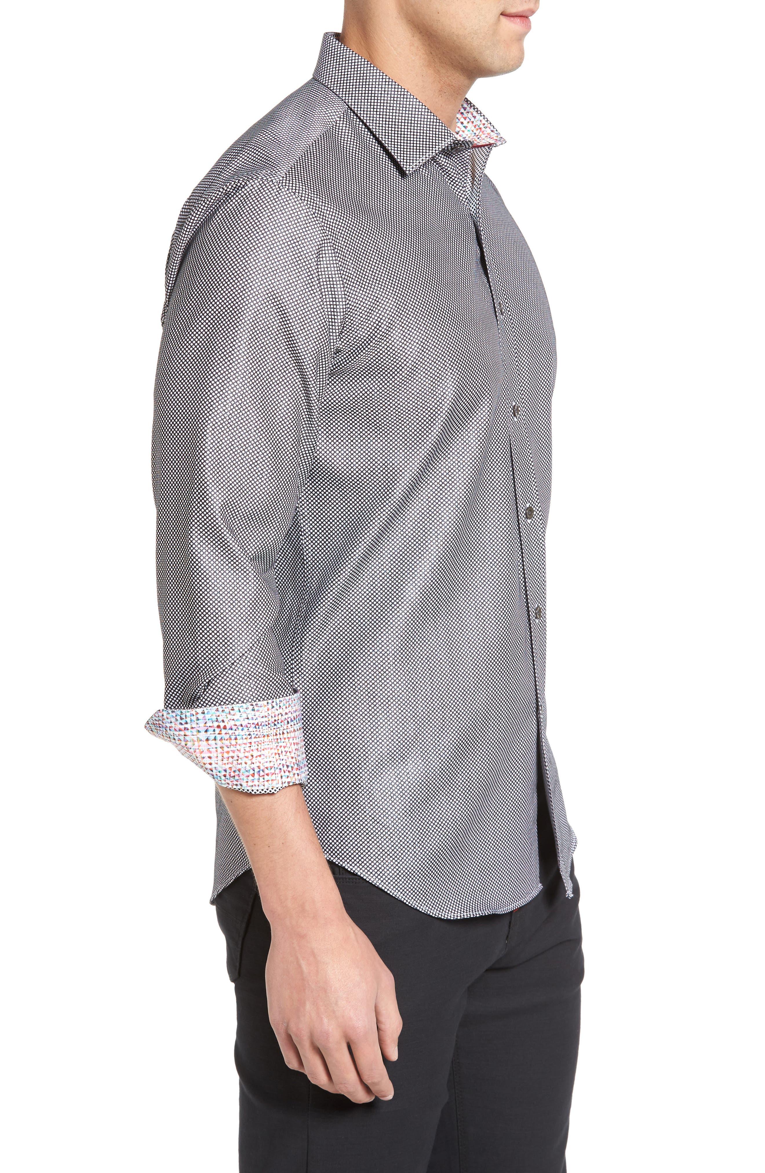 Shaped Fit Textured Sport Shirt,                             Alternate thumbnail 3, color,                             Black