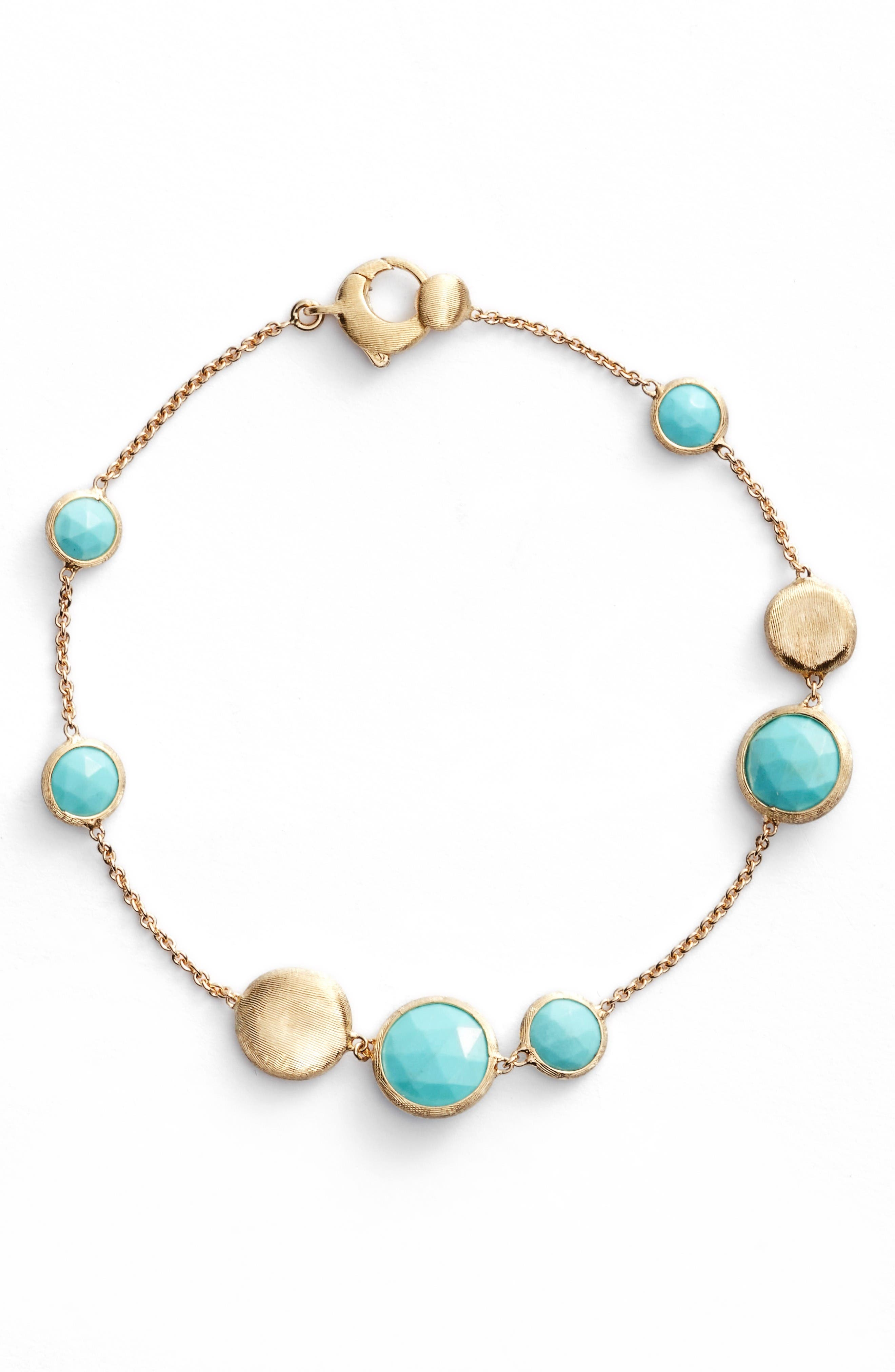 Jaipur Turquoise Bracelet,                             Main thumbnail 1, color,                             Yellow Gold/ Turquoise