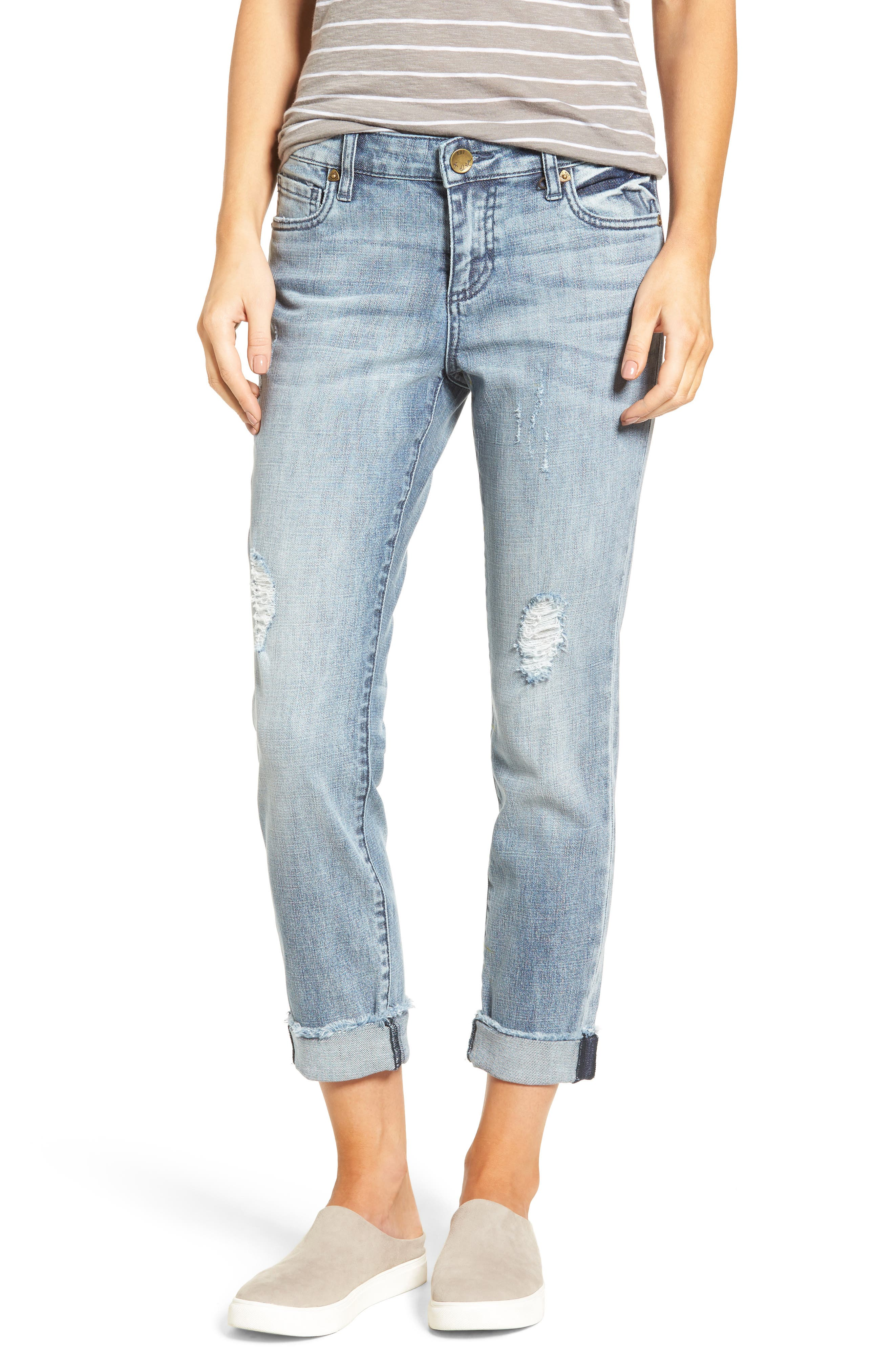 Main Image - KUT from the Kloth Catherine Distressed Frayed Hem Boyfriend Jeans (Heartiness)